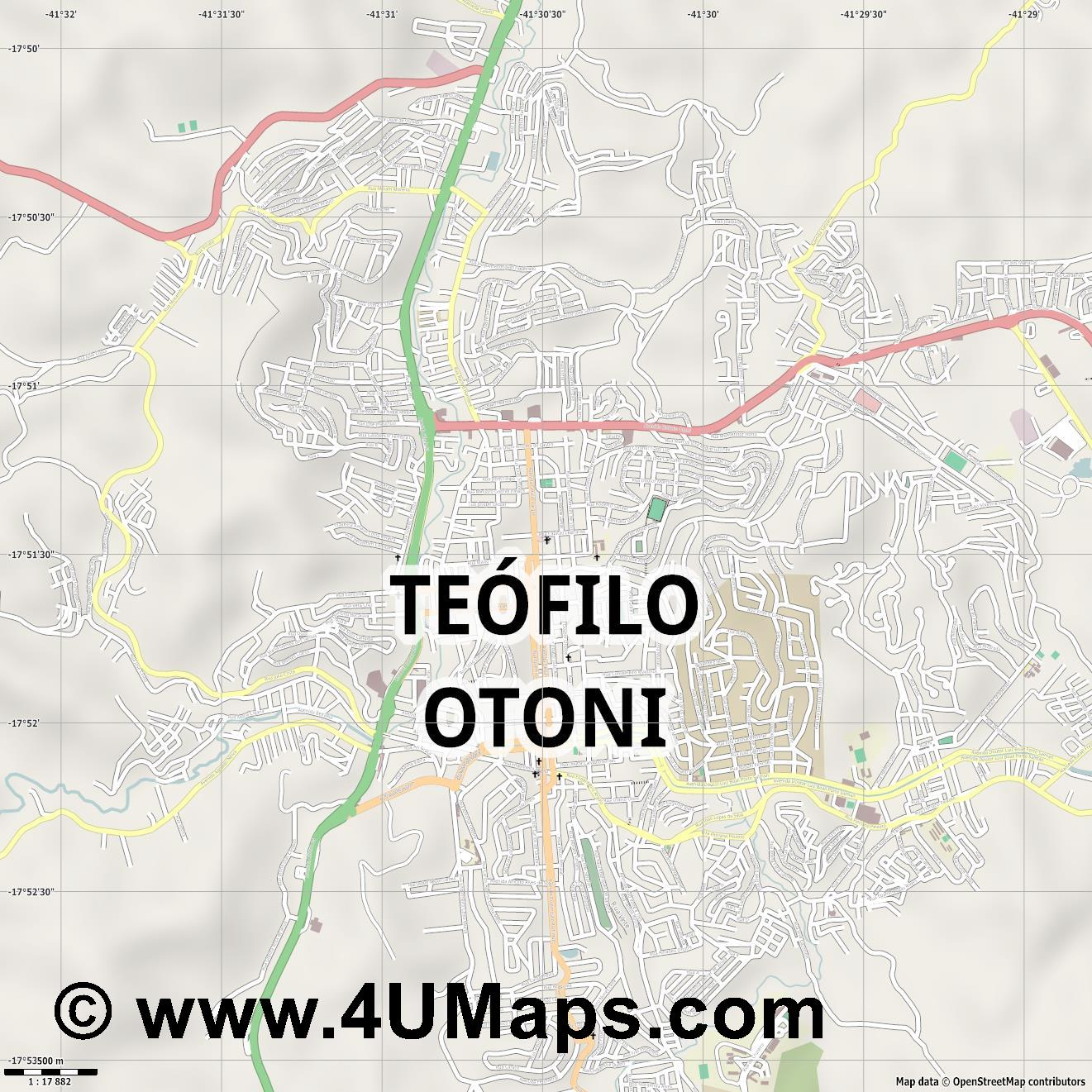 Teófilo Otoni  jpg ultra high detail preview vector city map