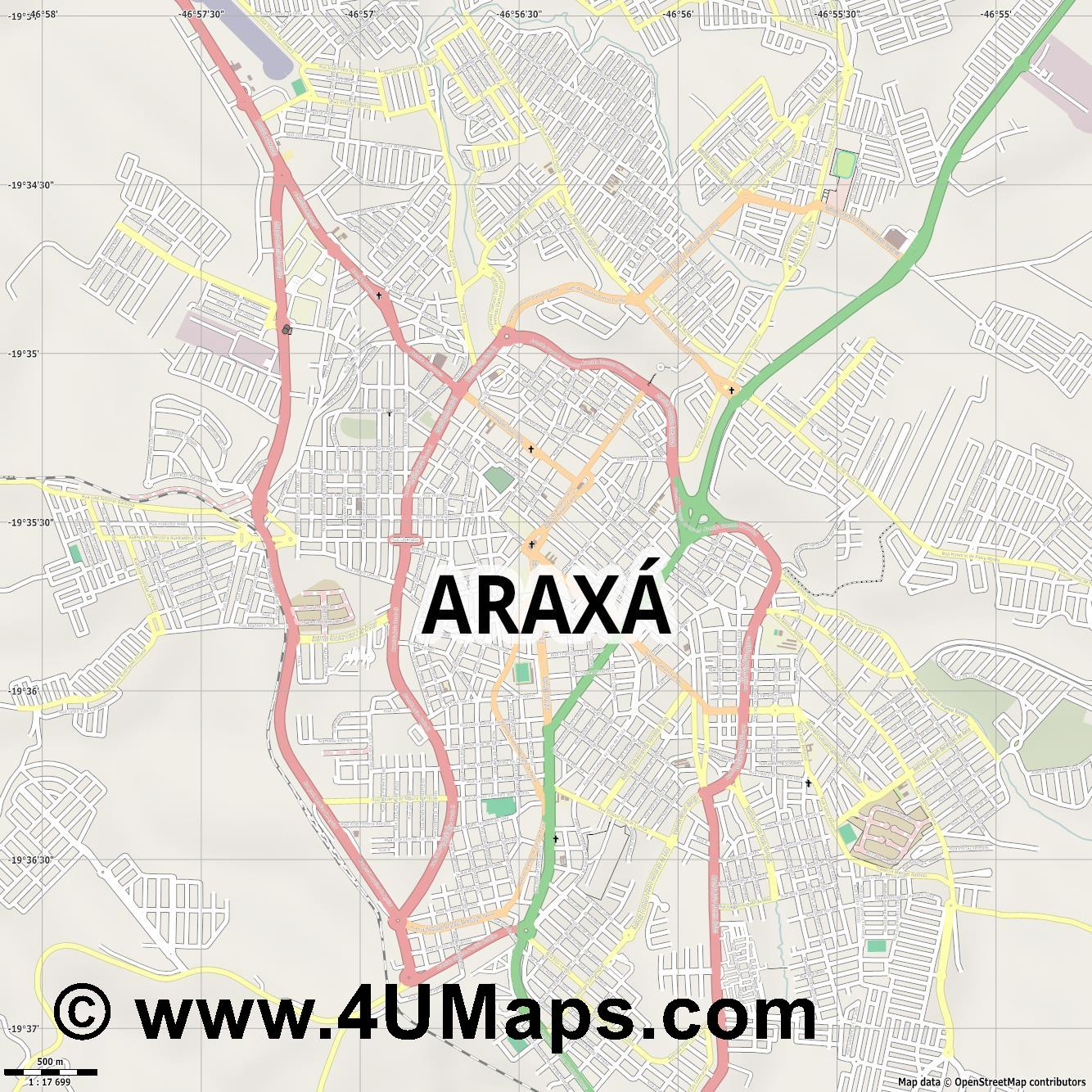 Araxá  jpg ultra high detail preview vector city map