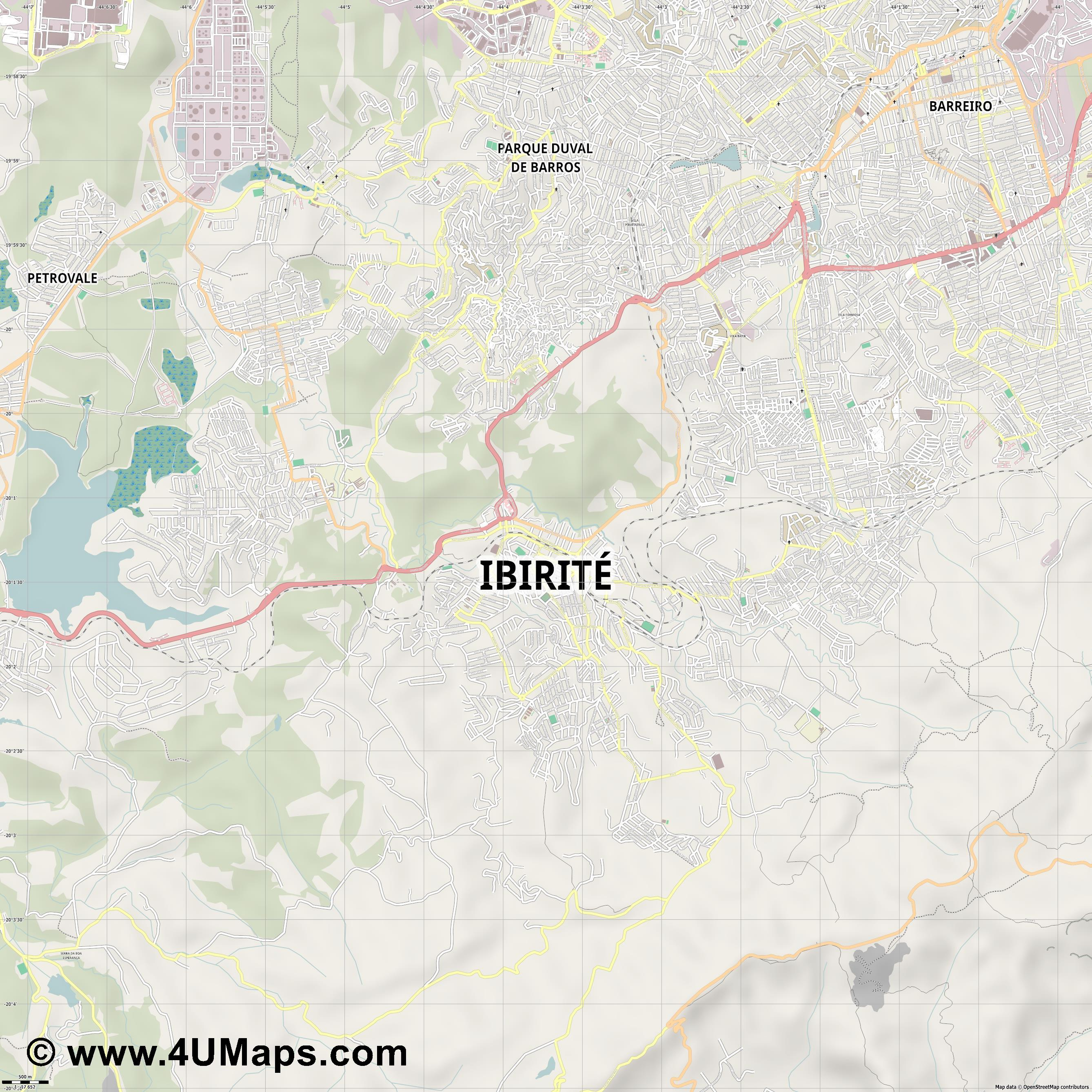 Ibirité  jpg ultra high detail preview vector city map
