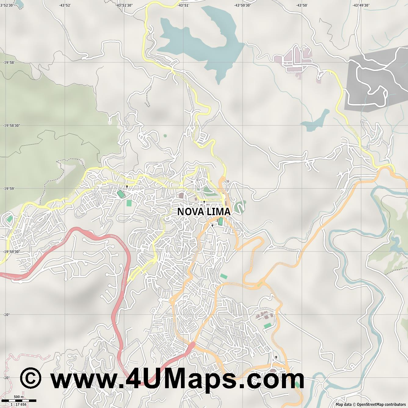 Nova Lima  jpg ultra high detail preview vector city map