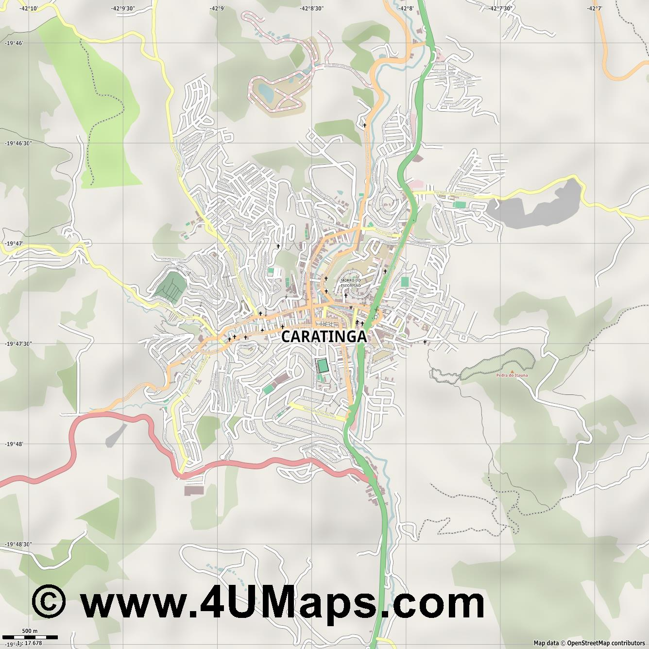 Caratinga  jpg ultra high detail preview vector city map