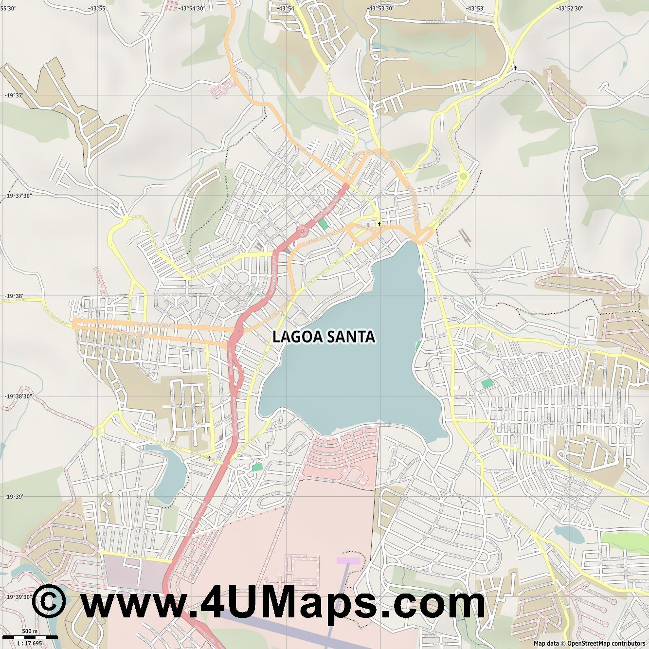 Lagoa Santa  jpg ultra high detail preview vector city map