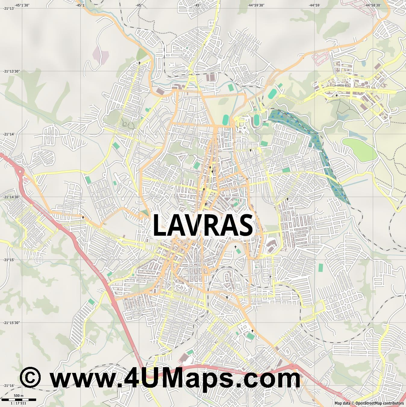 Lavras  jpg ultra high detail preview vector city map