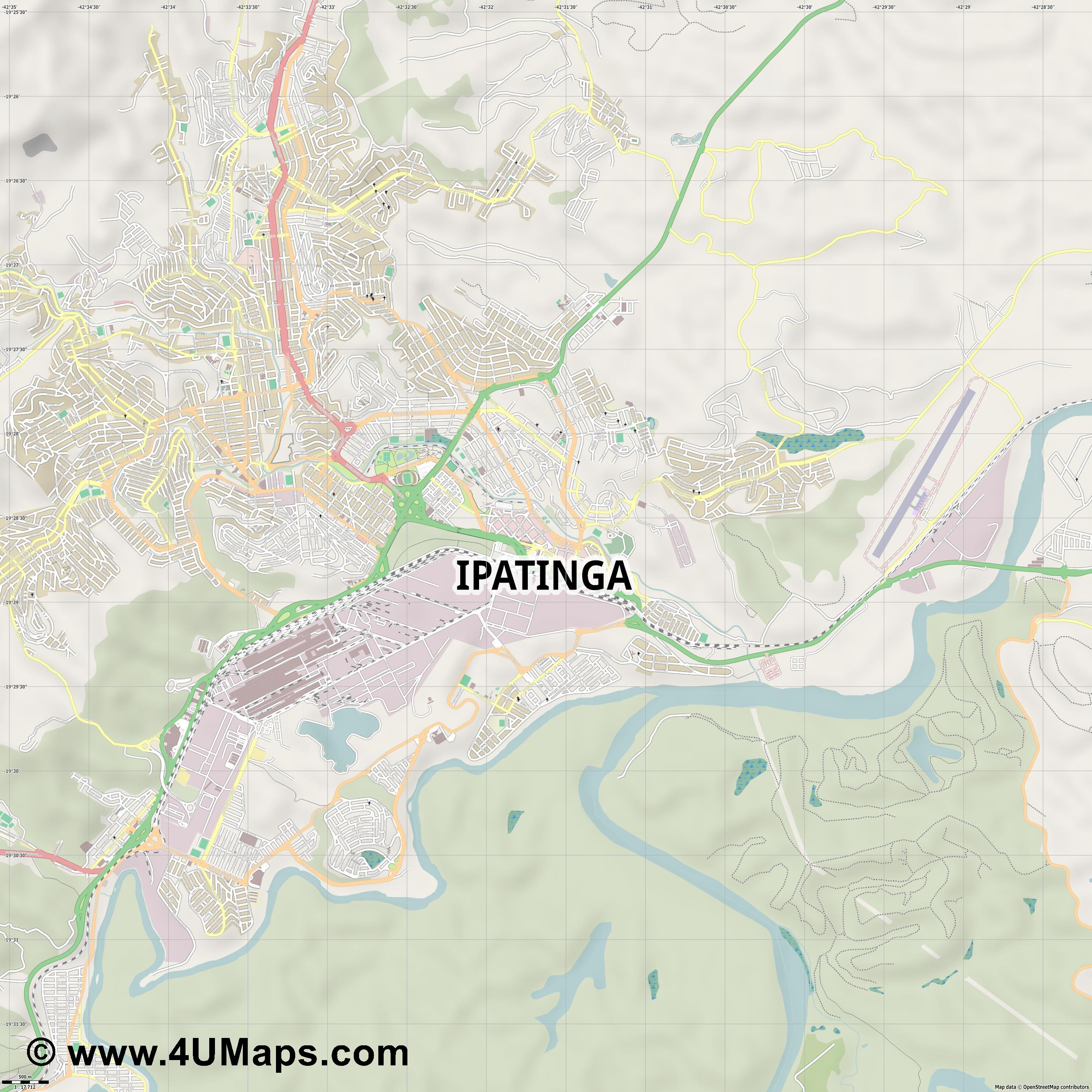 Ipatinga  jpg ultra high detail preview vector city map