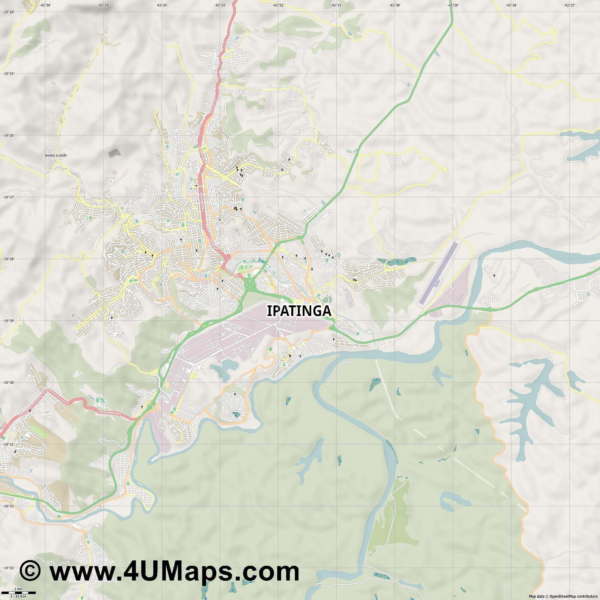 Ipatinga  jpg high detail, large area preview vector city map
