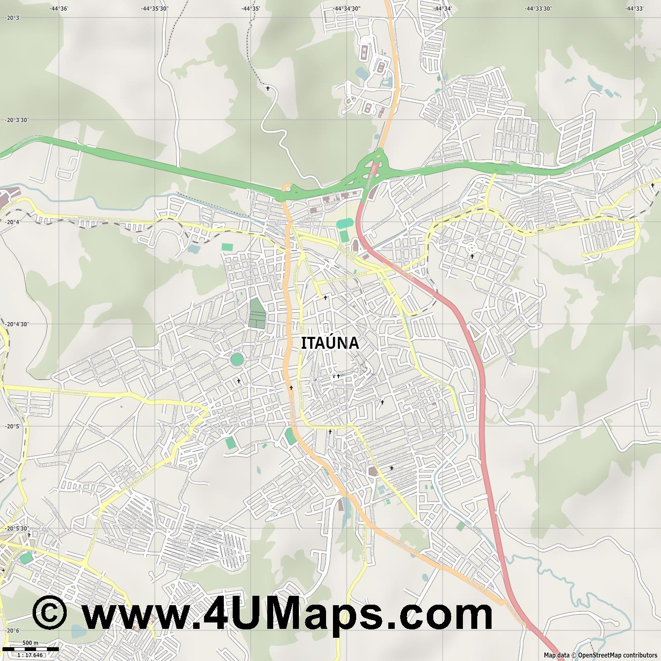 Itaúna  jpg ultra high detail preview vector city map