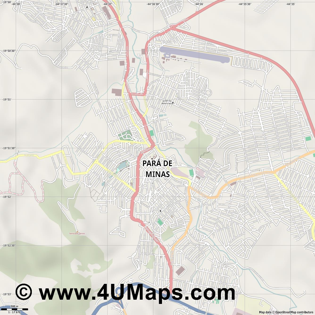 Pará de Minas  jpg ultra high detail preview vector city map