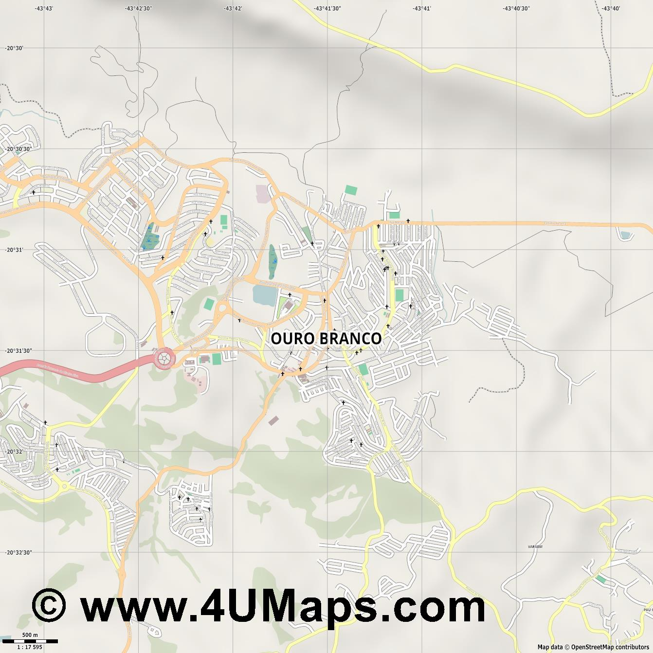 Ouro Branco  jpg ultra high detail preview vector city map
