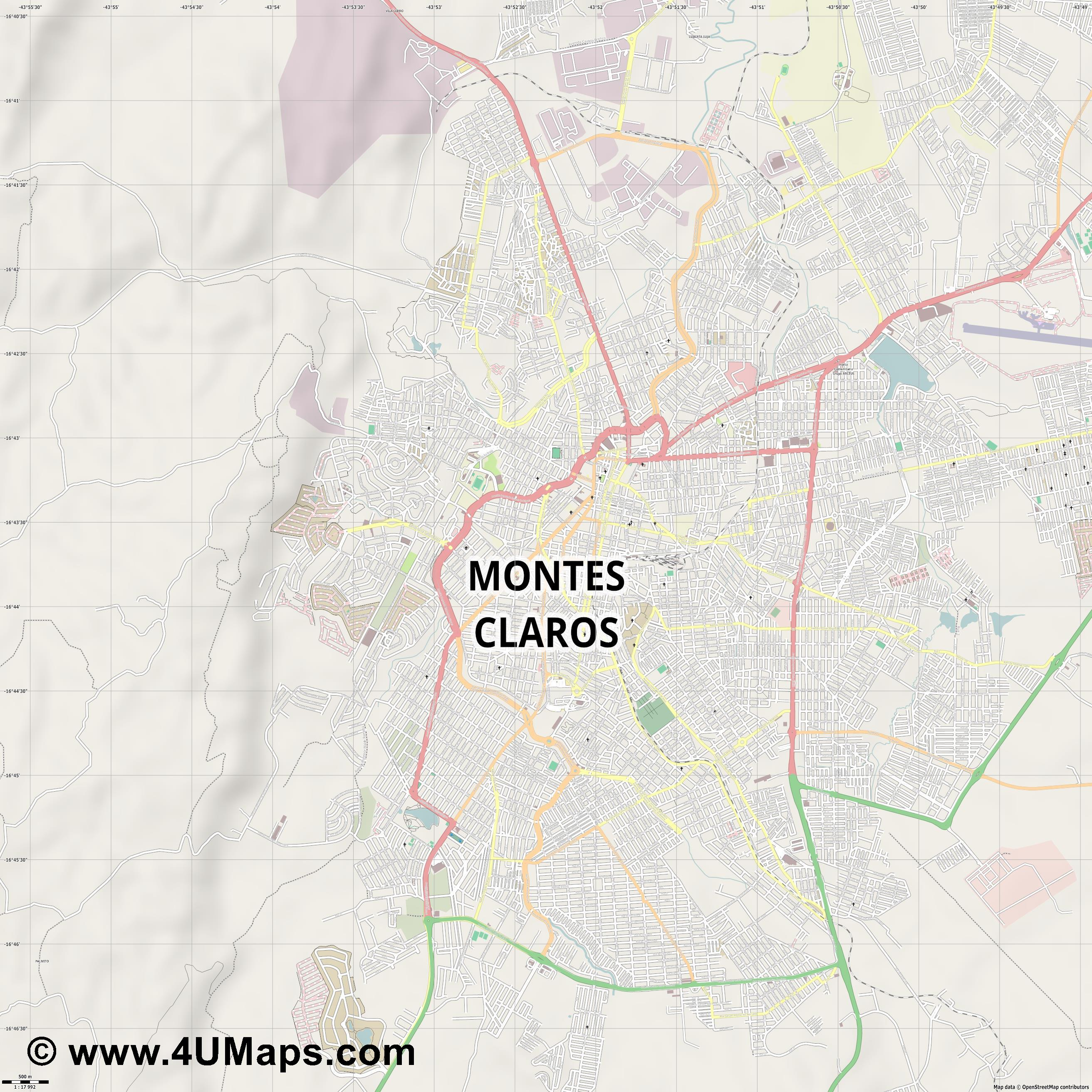Montes Claros  jpg ultra high detail preview vector city map