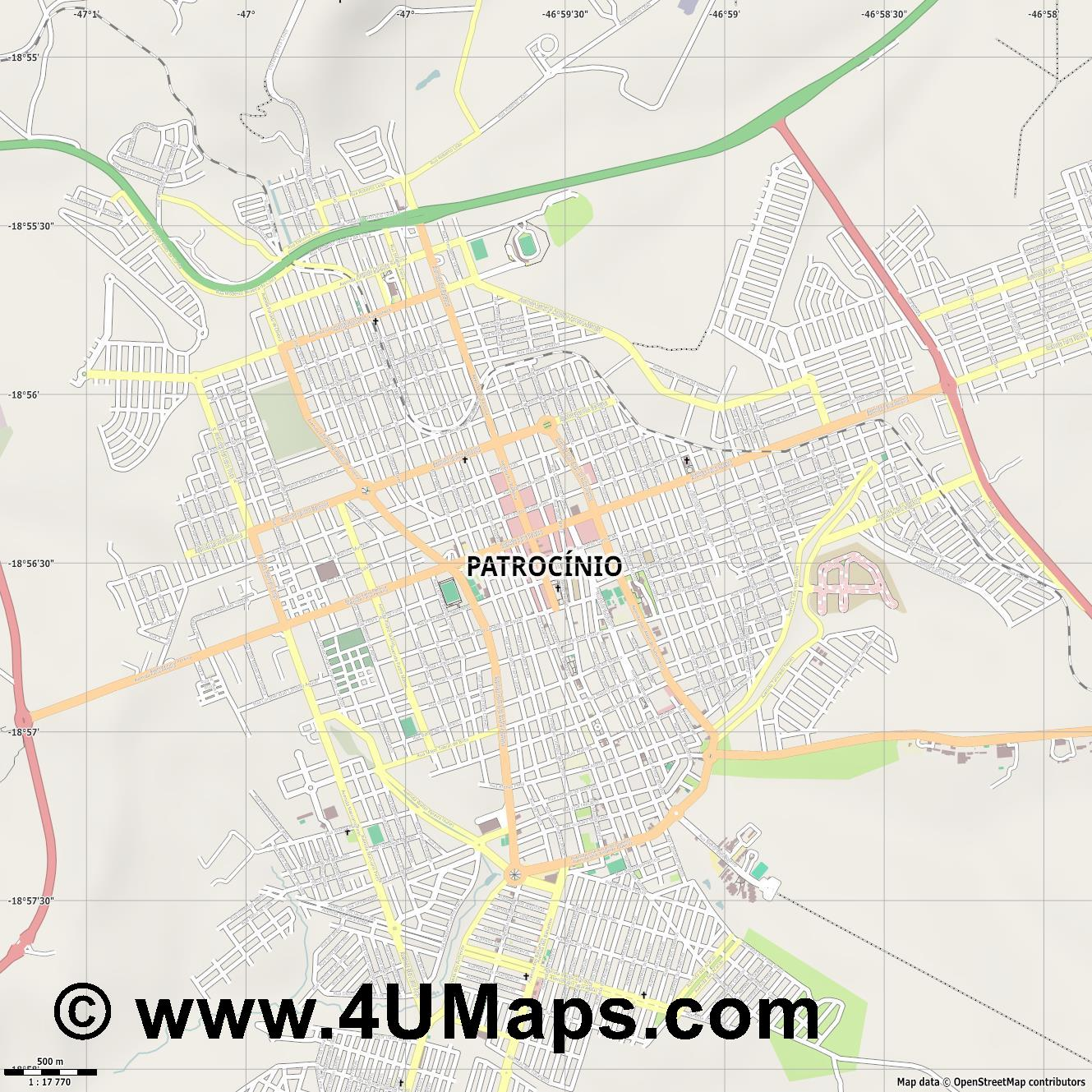 Patrocínio  jpg ultra high detail preview vector city map
