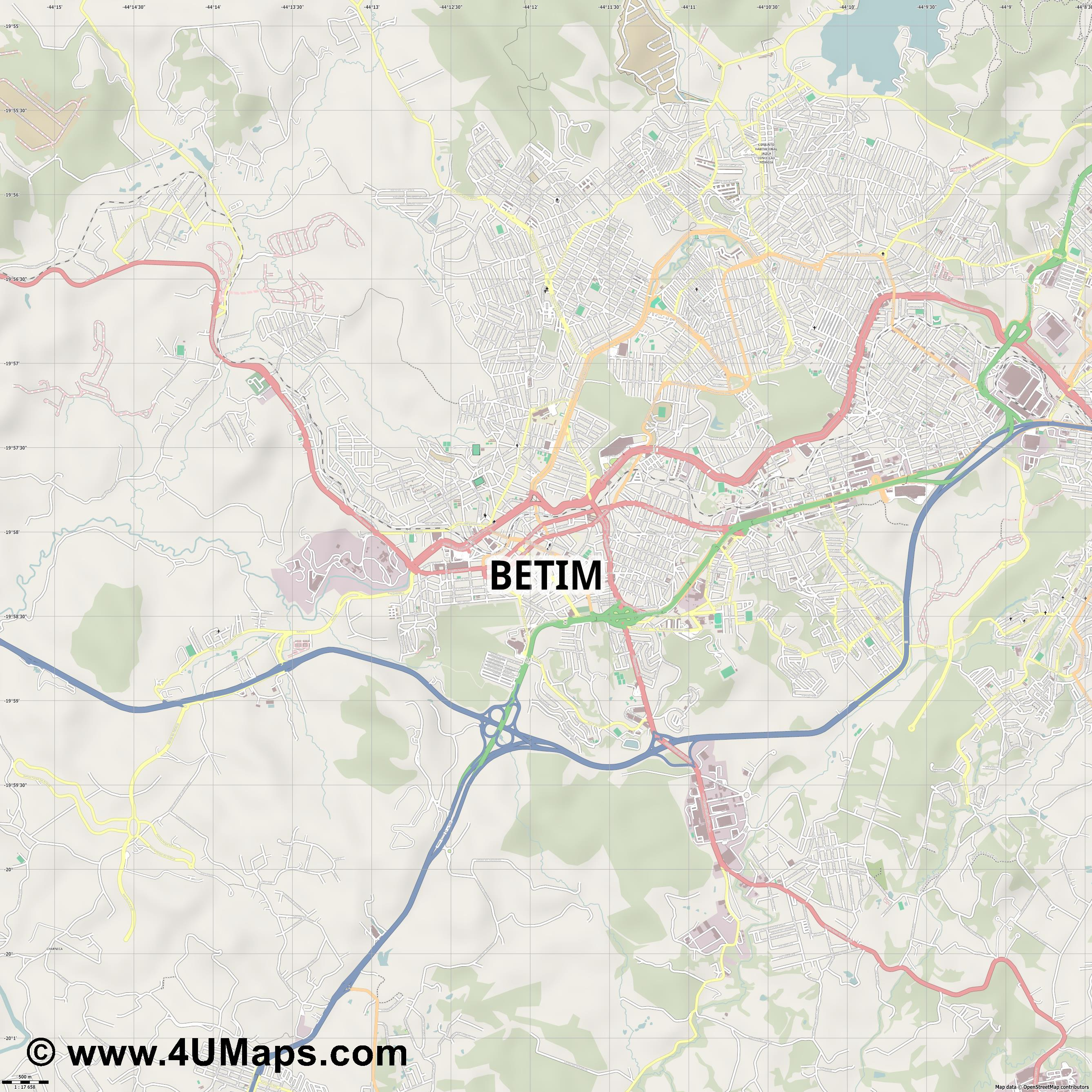 Betim  jpg ultra high detail preview vector city map