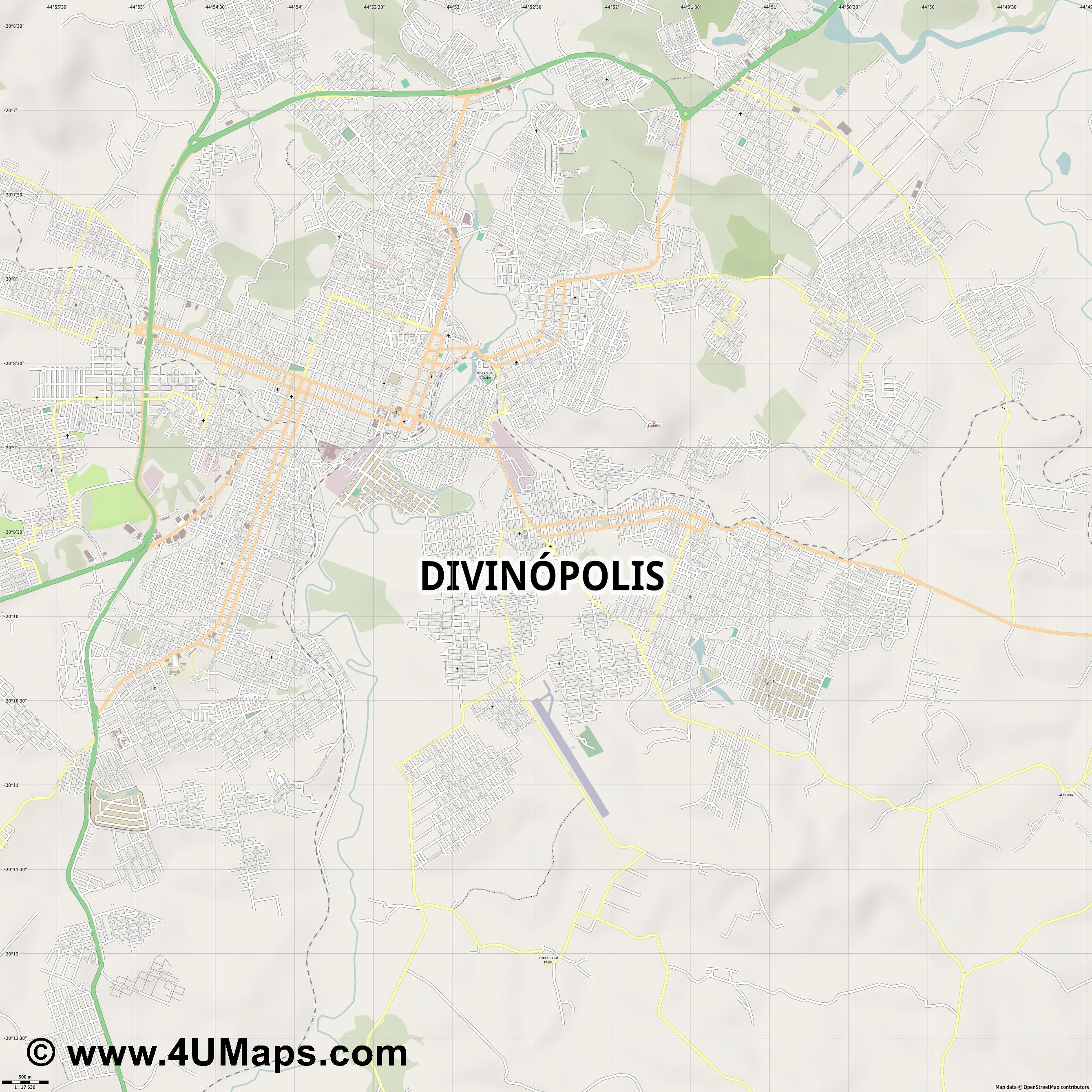 Divinópolis  jpg ultra high detail preview vector city map