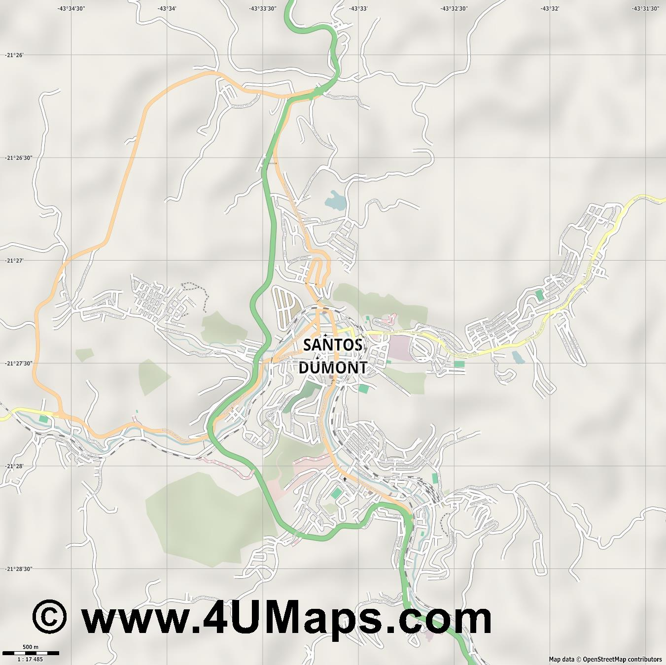 Santos Dumont  jpg ultra high detail preview vector city map