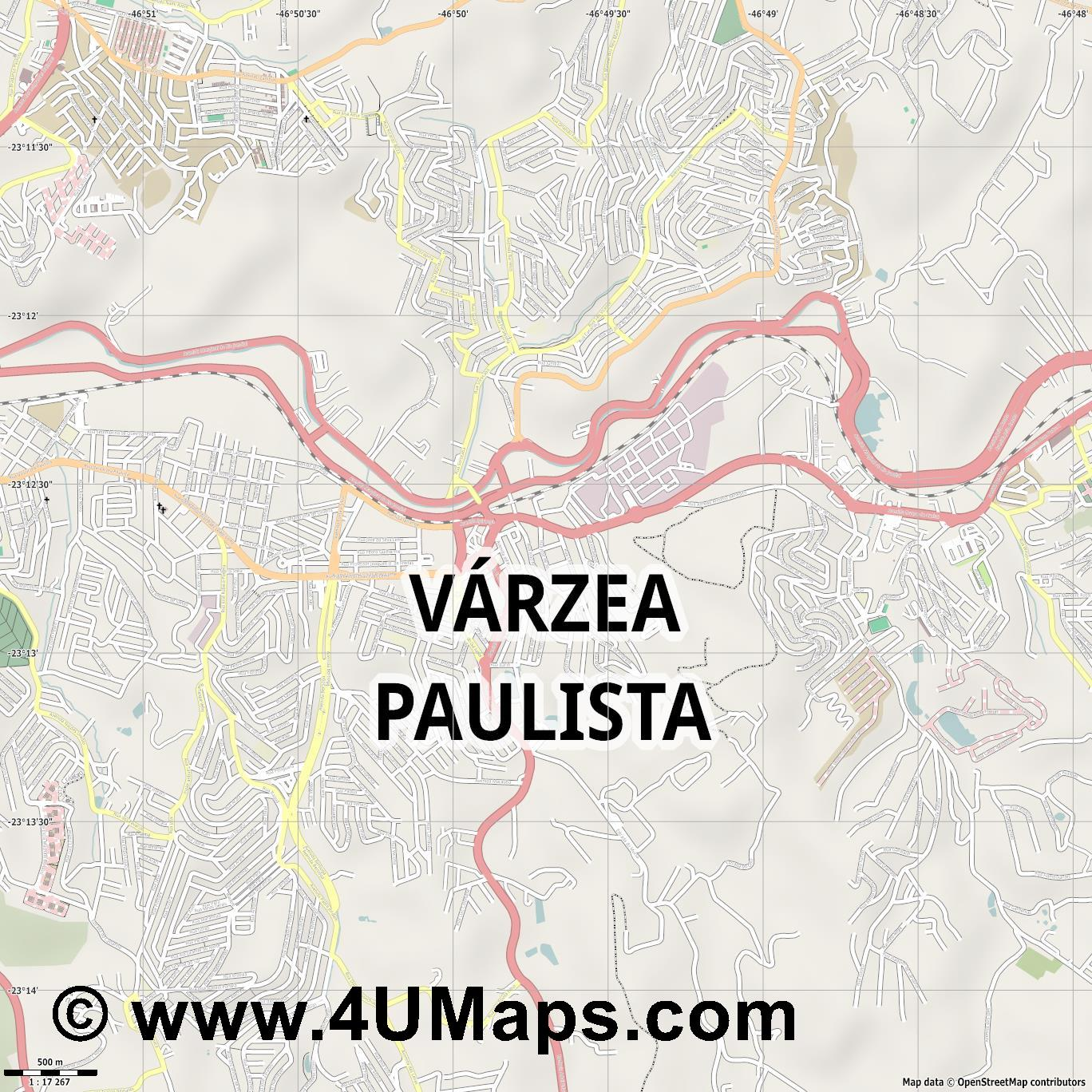 Várzea Paulista  jpg ultra high detail preview vector city map