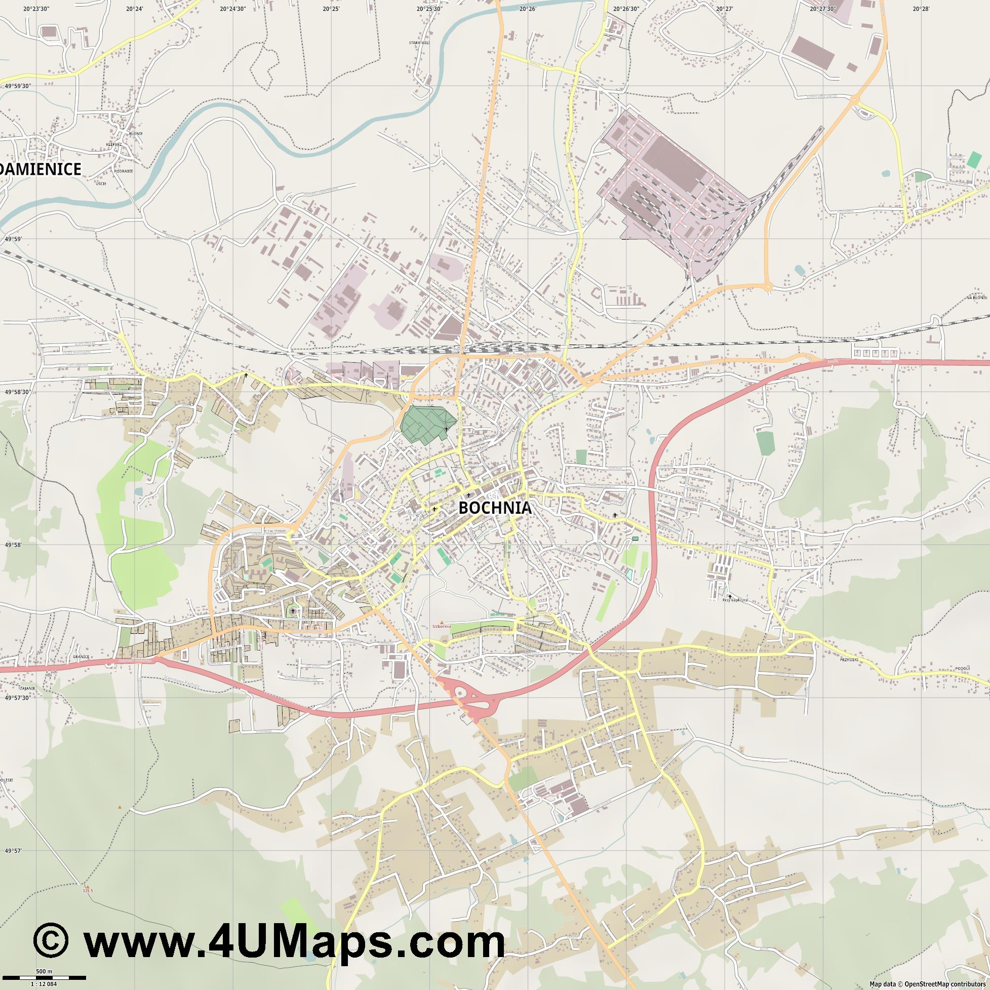 Bochnia Salzberg  jpg ultra high detail preview vector city map