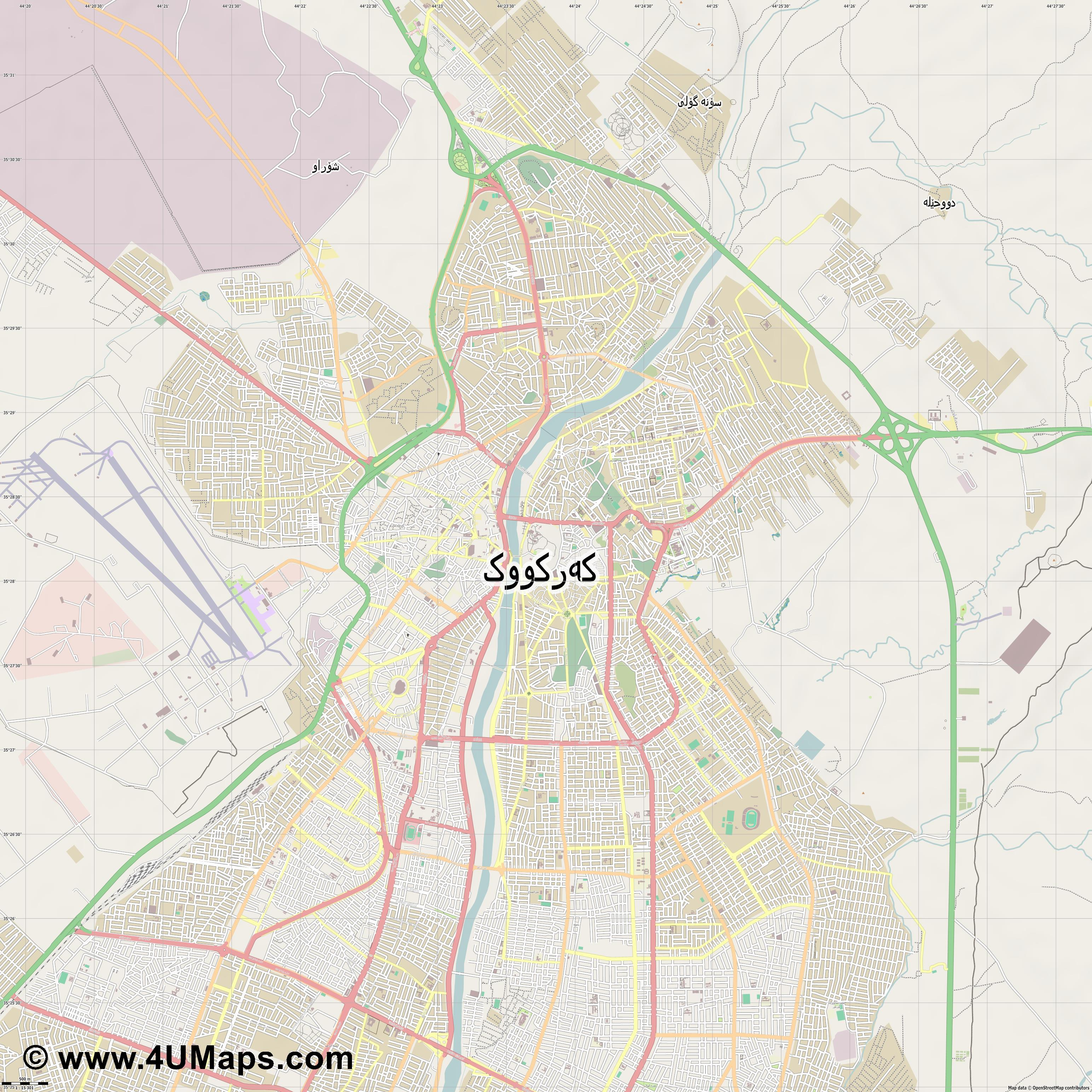 كركوك Kirkuk Kirkouk  jpg ultra high detail preview vector city map
