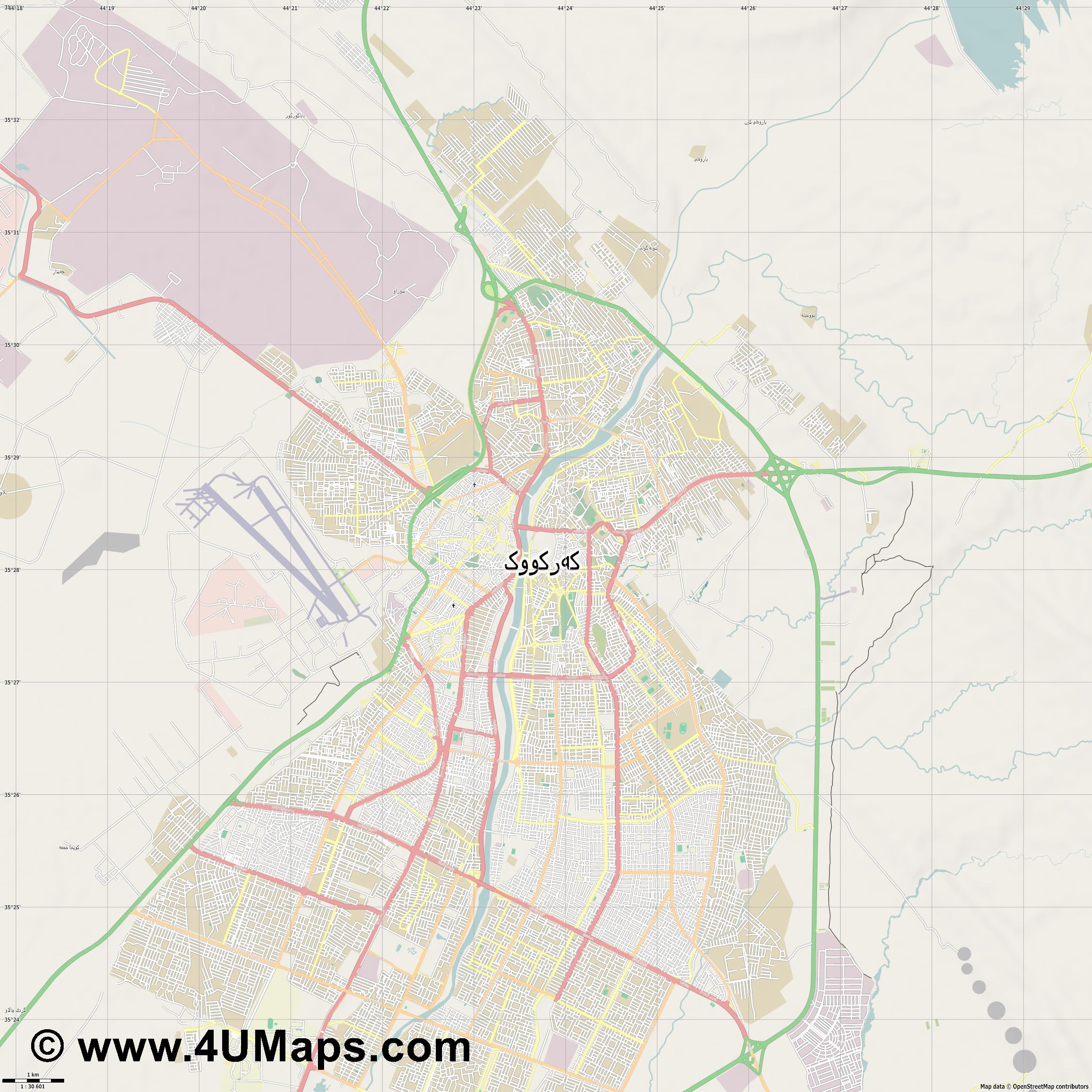 كركوك Kirkuk Kirkouk  jpg high detail, large area preview vector city map