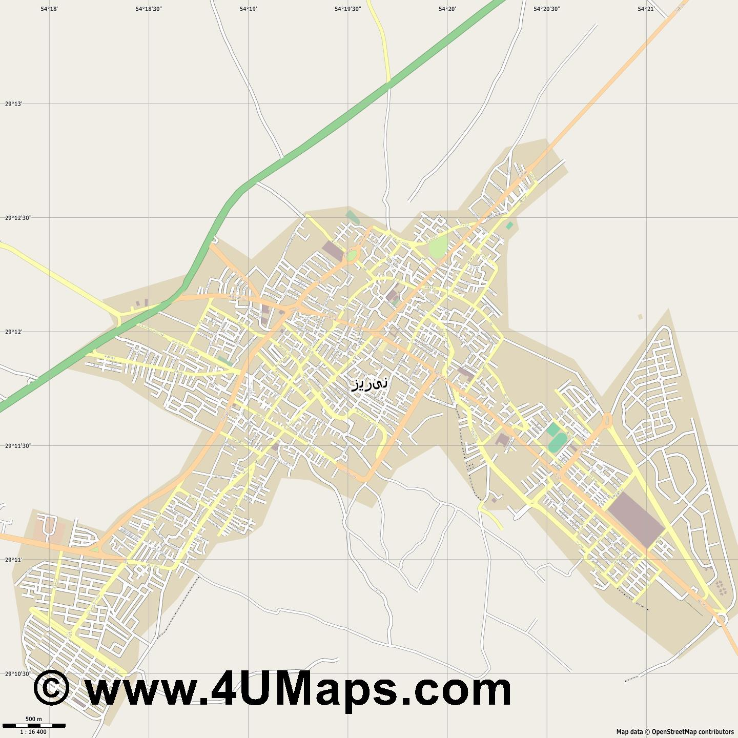 نیریز Neyriz  jpg ultra high detail preview vector city map