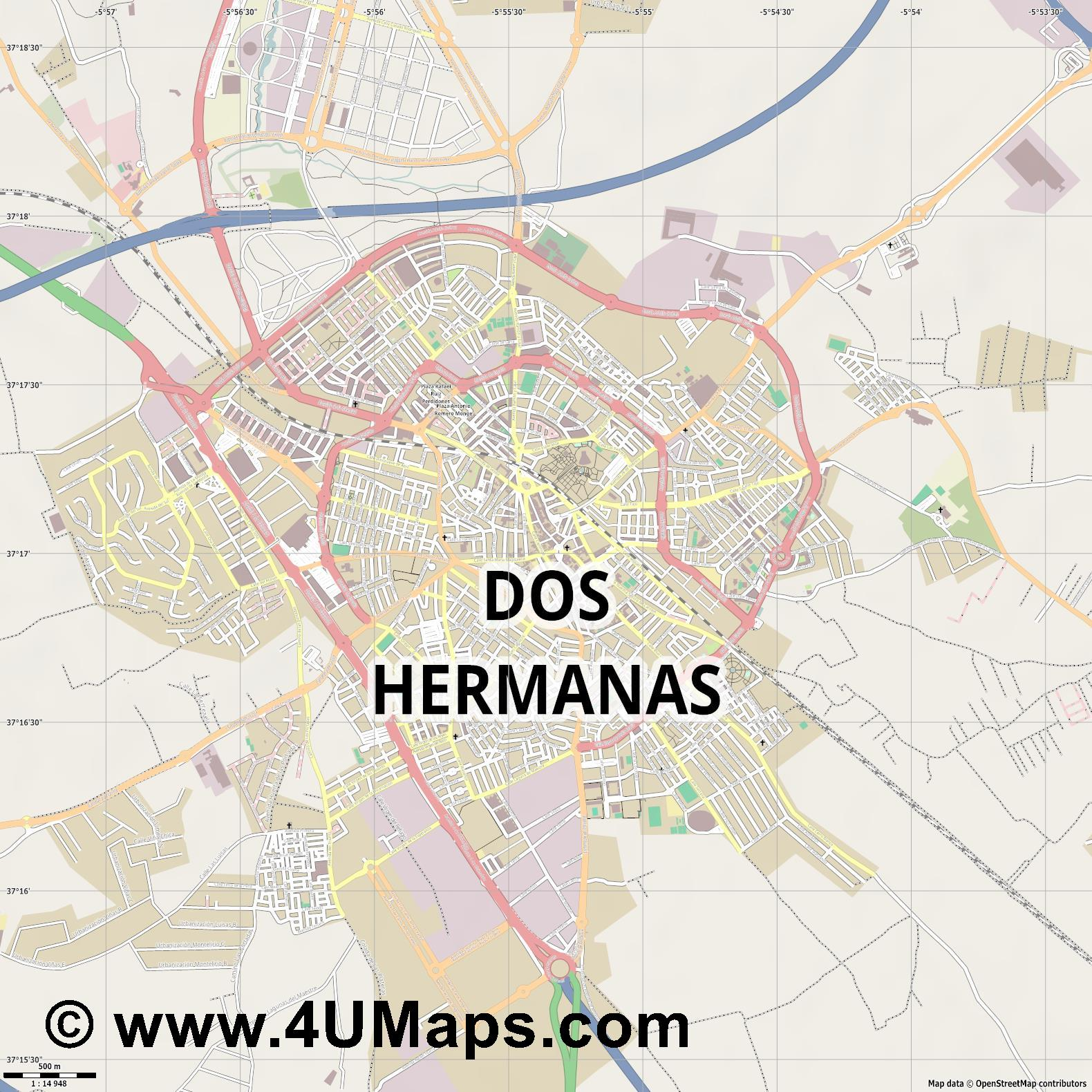 Dos Hermanas  jpg ultra high detail preview vector city map