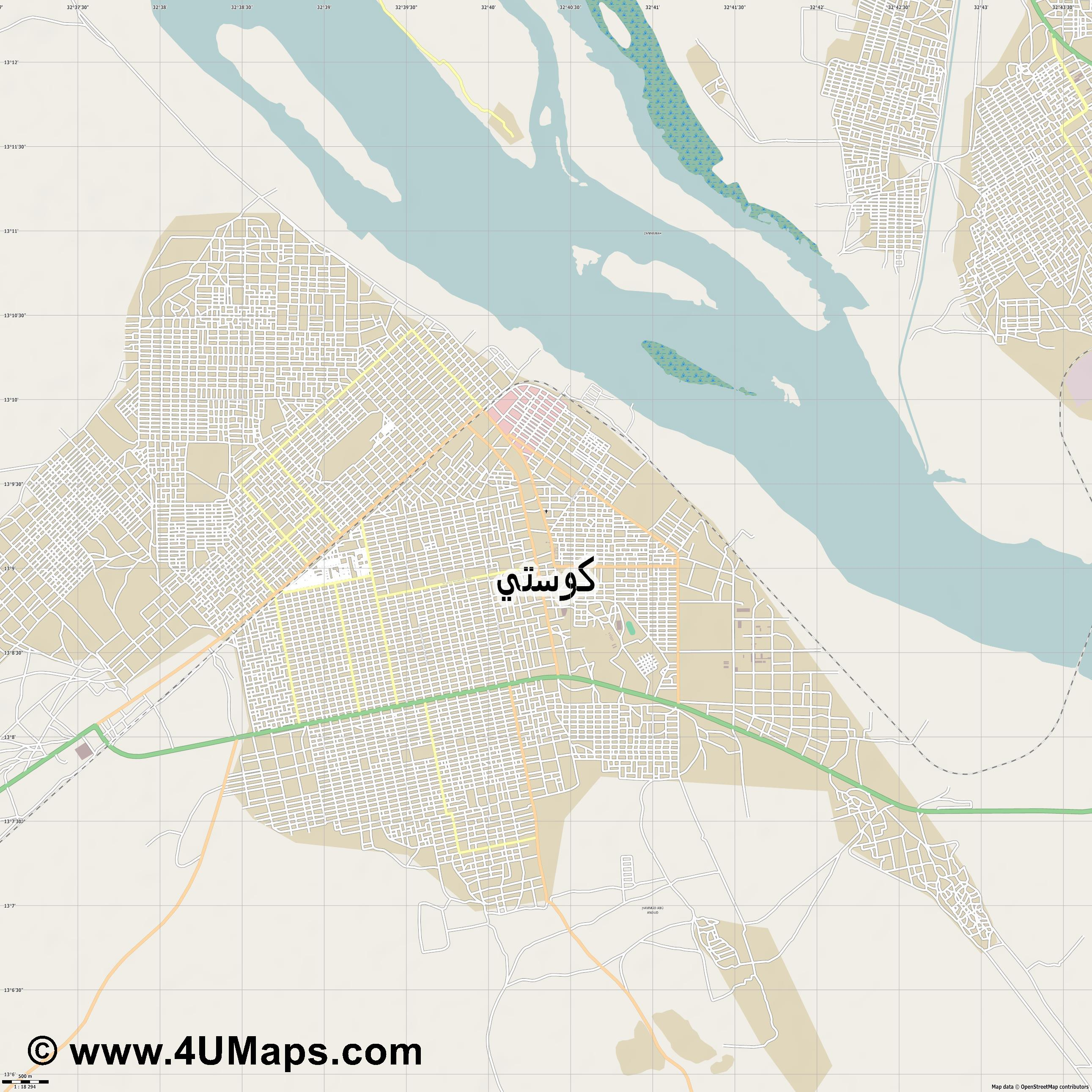 كوستي Kosti  jpg ultra high detail preview vector city map