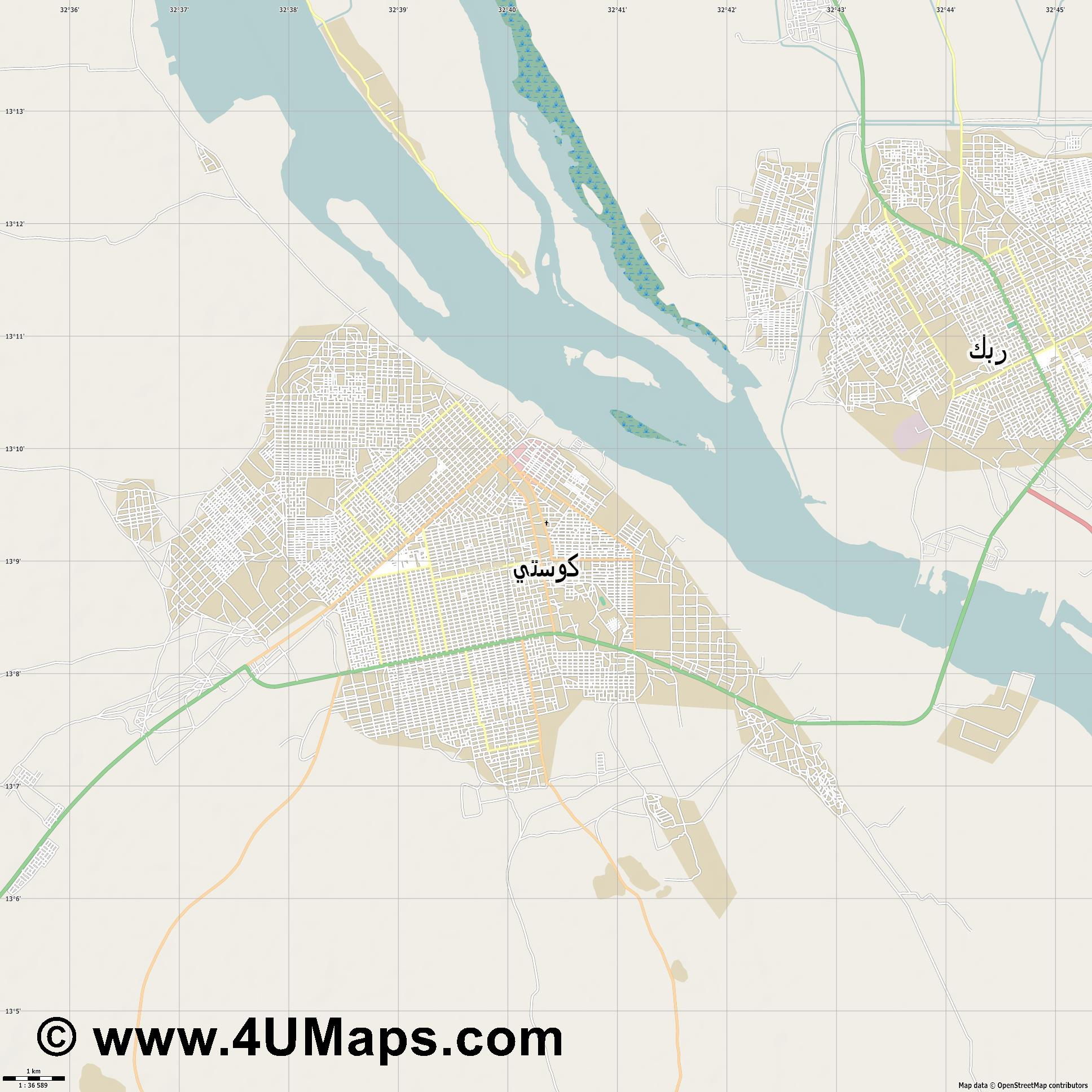 كوستي Kosti  jpg high detail, large area preview vector city map