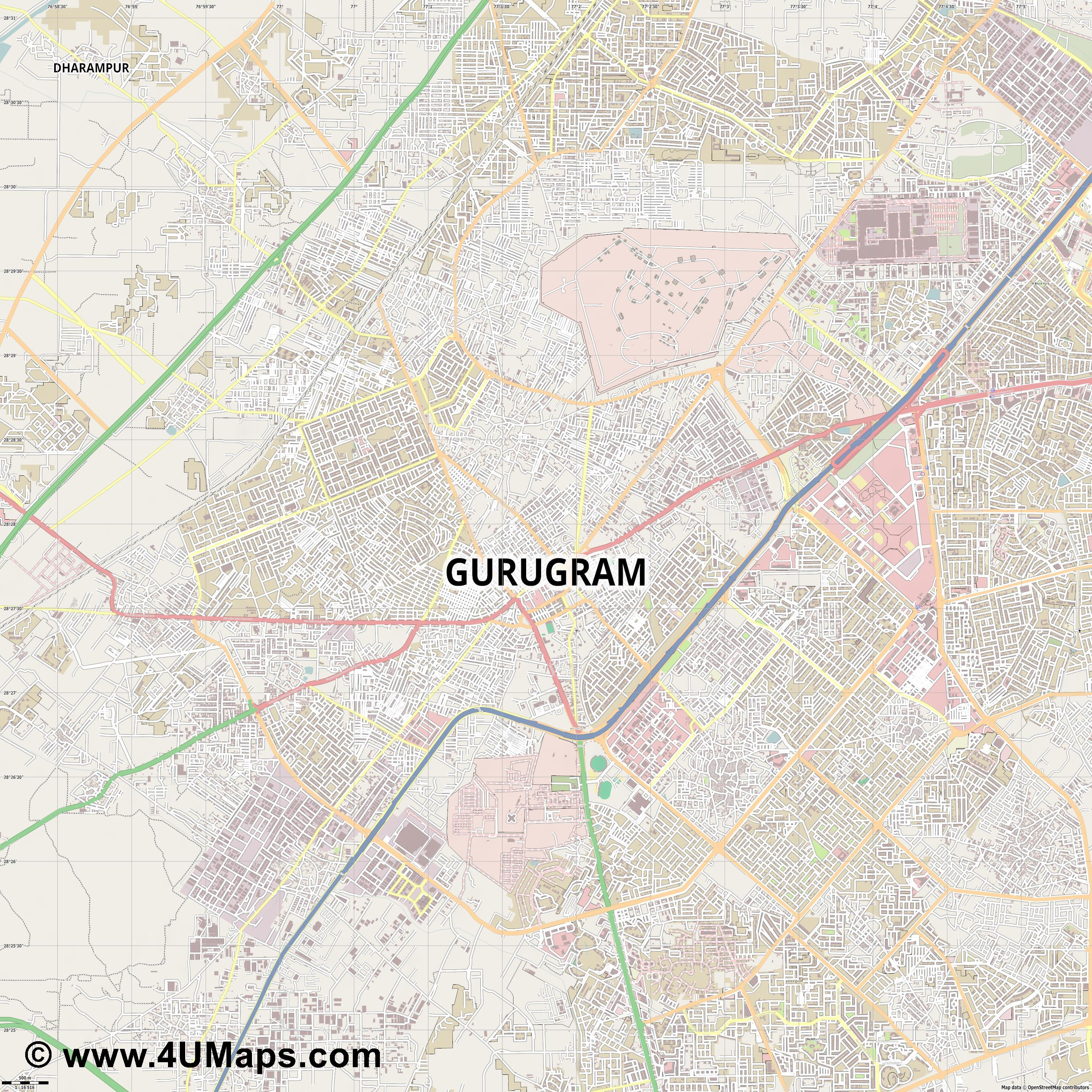 Gurgaon  jpg ultra high detail preview vector city map