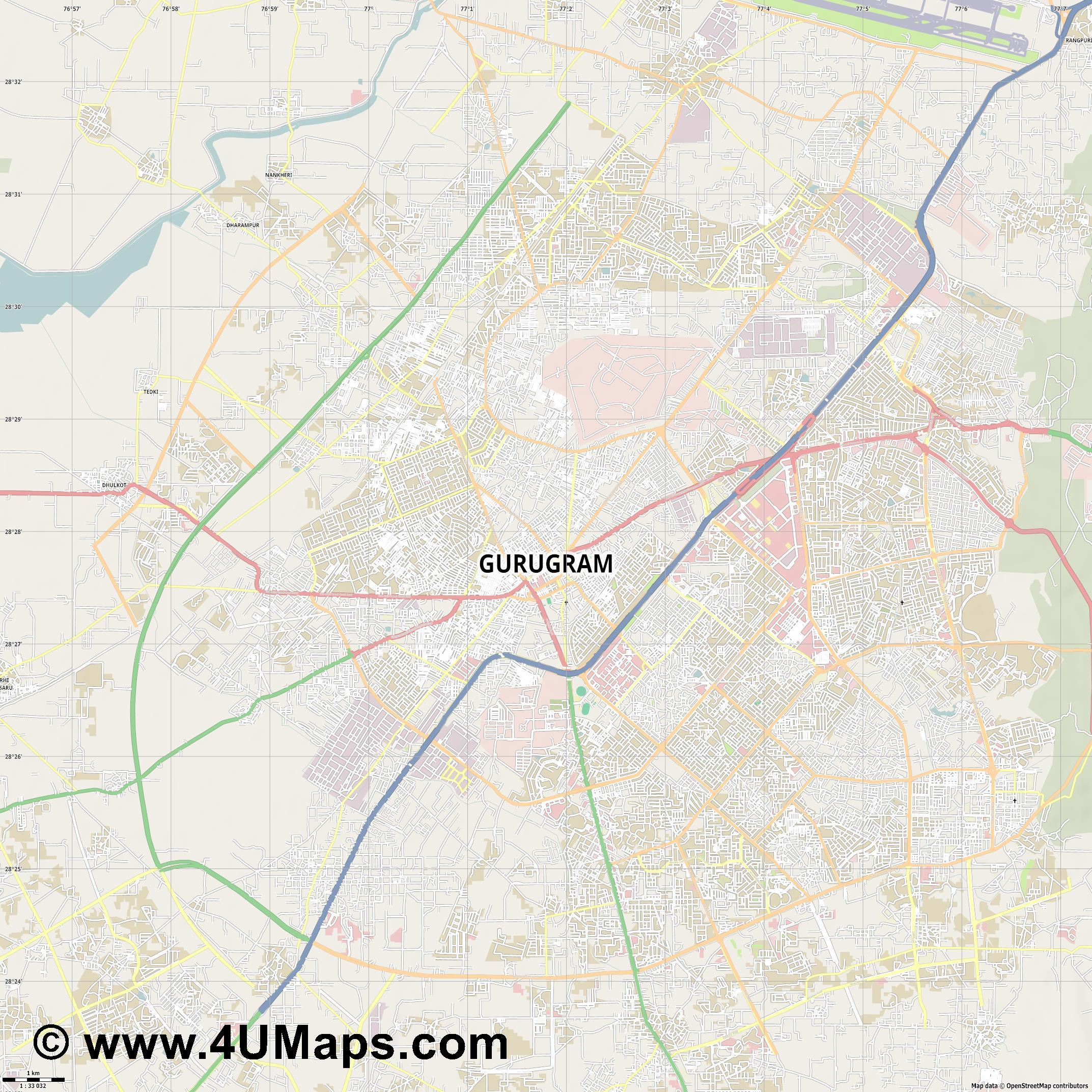 Gurgaon  jpg high detail, large area preview vector city map