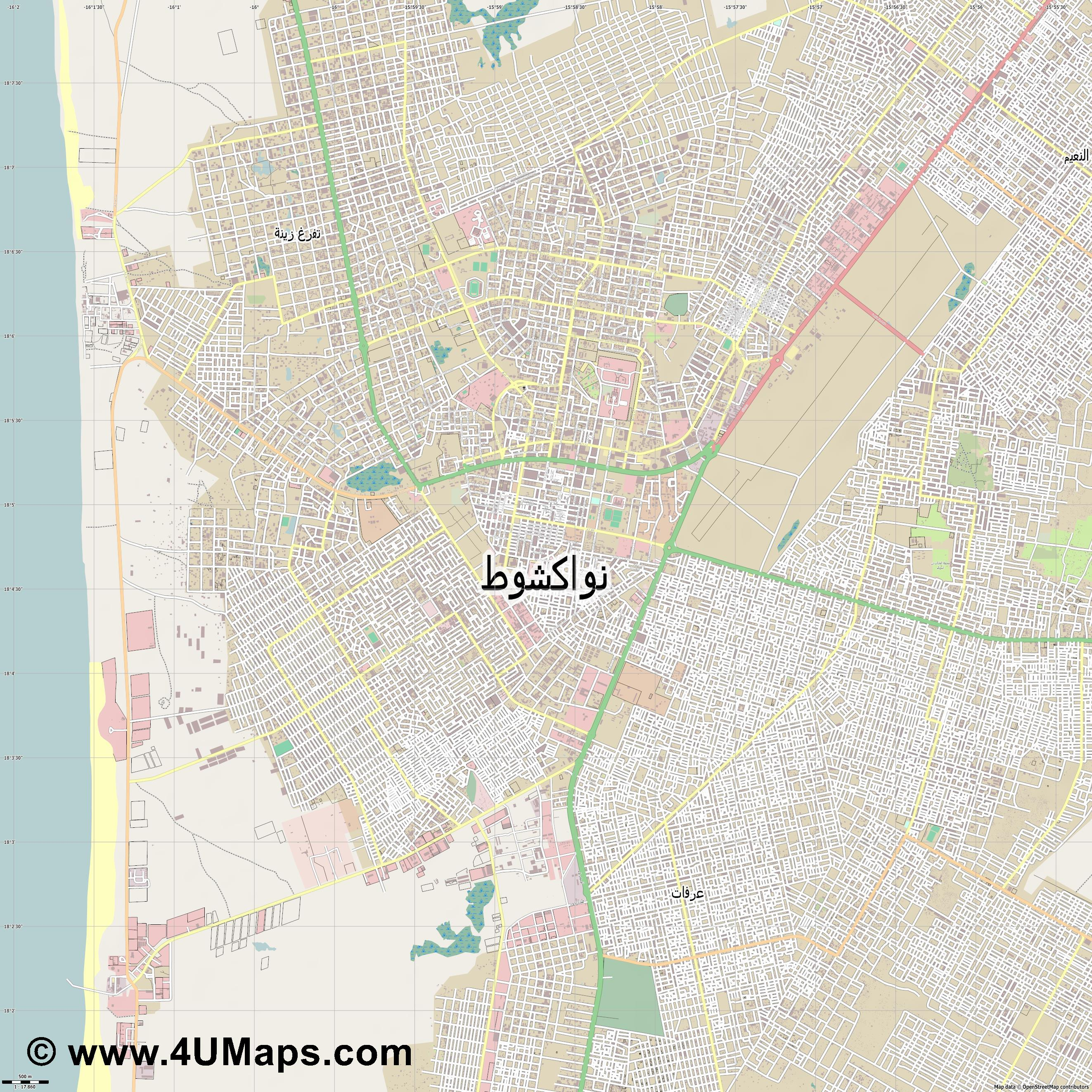 نواكشوط Nouakchott Nuakchot Nuakschott  jpg ultra high detail preview vector city map