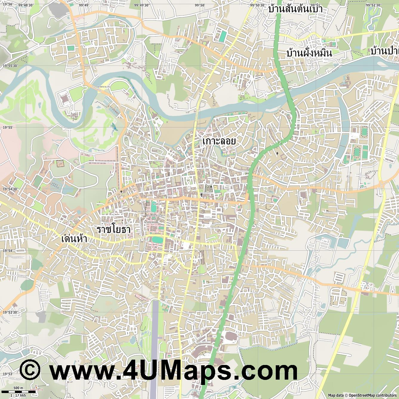 เช ยงราย Chiang Rai  jpg ultra high detail preview vector city map