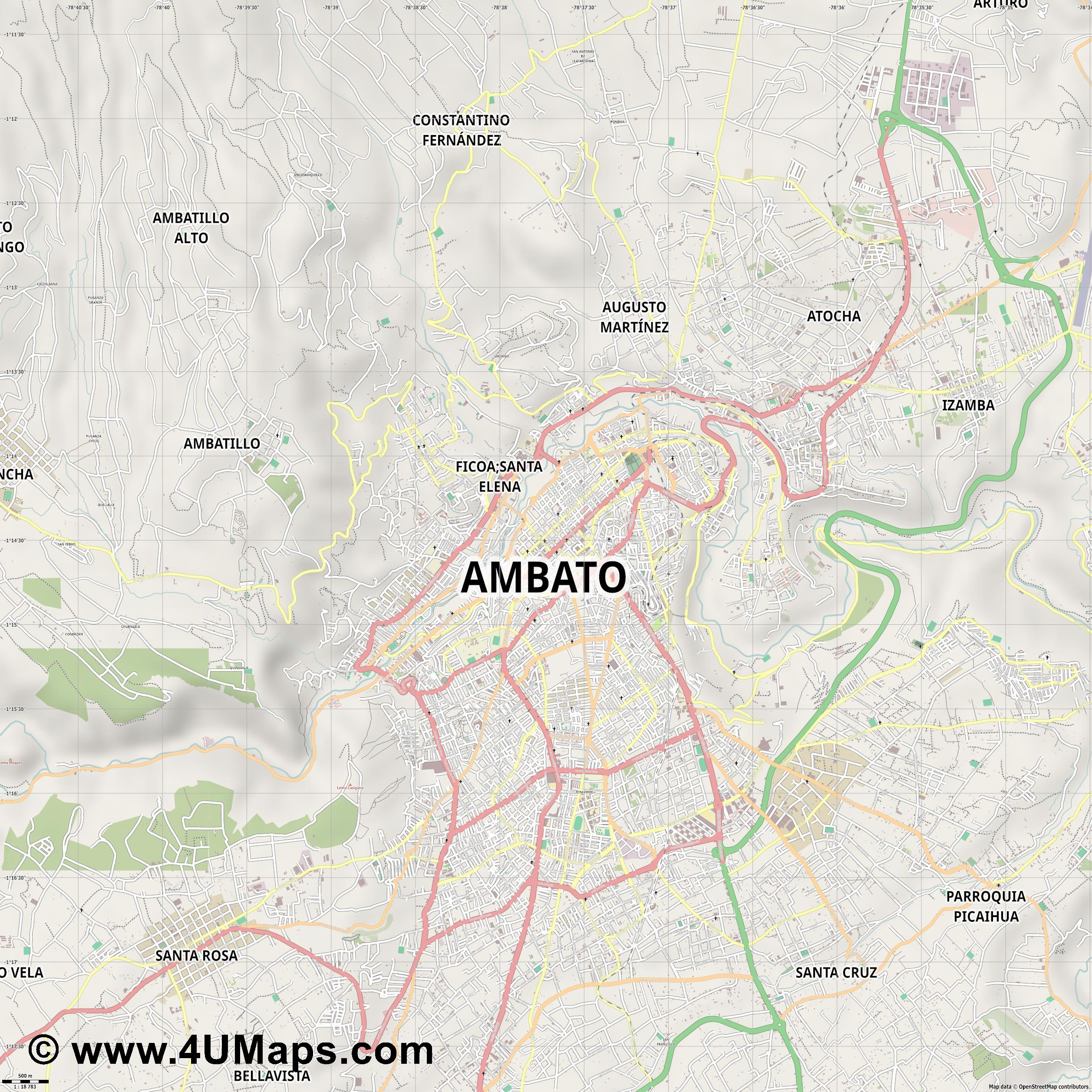 Ambato  jpg ultra high detail preview vector city map