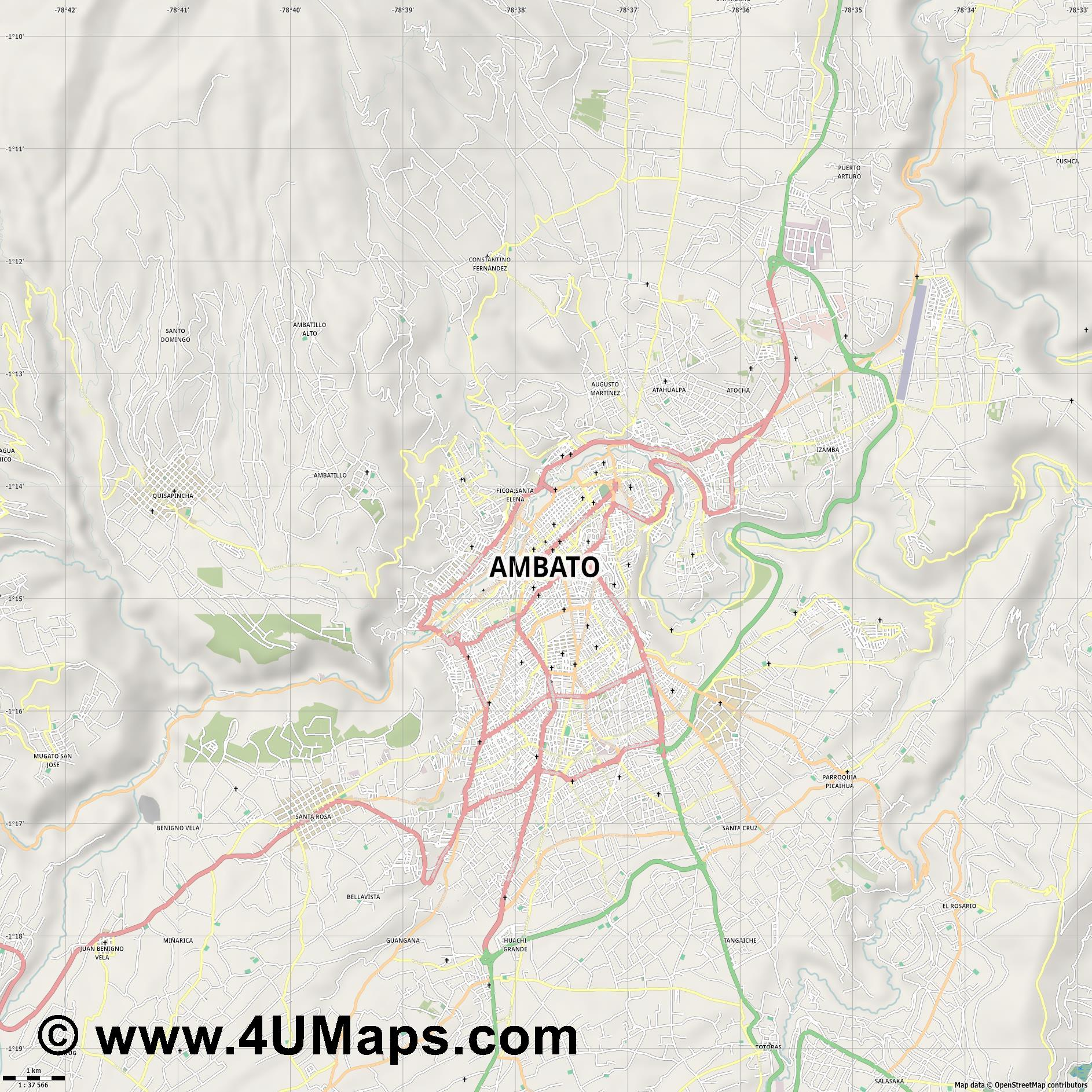 Ambato  jpg high detail, large area preview vector city map