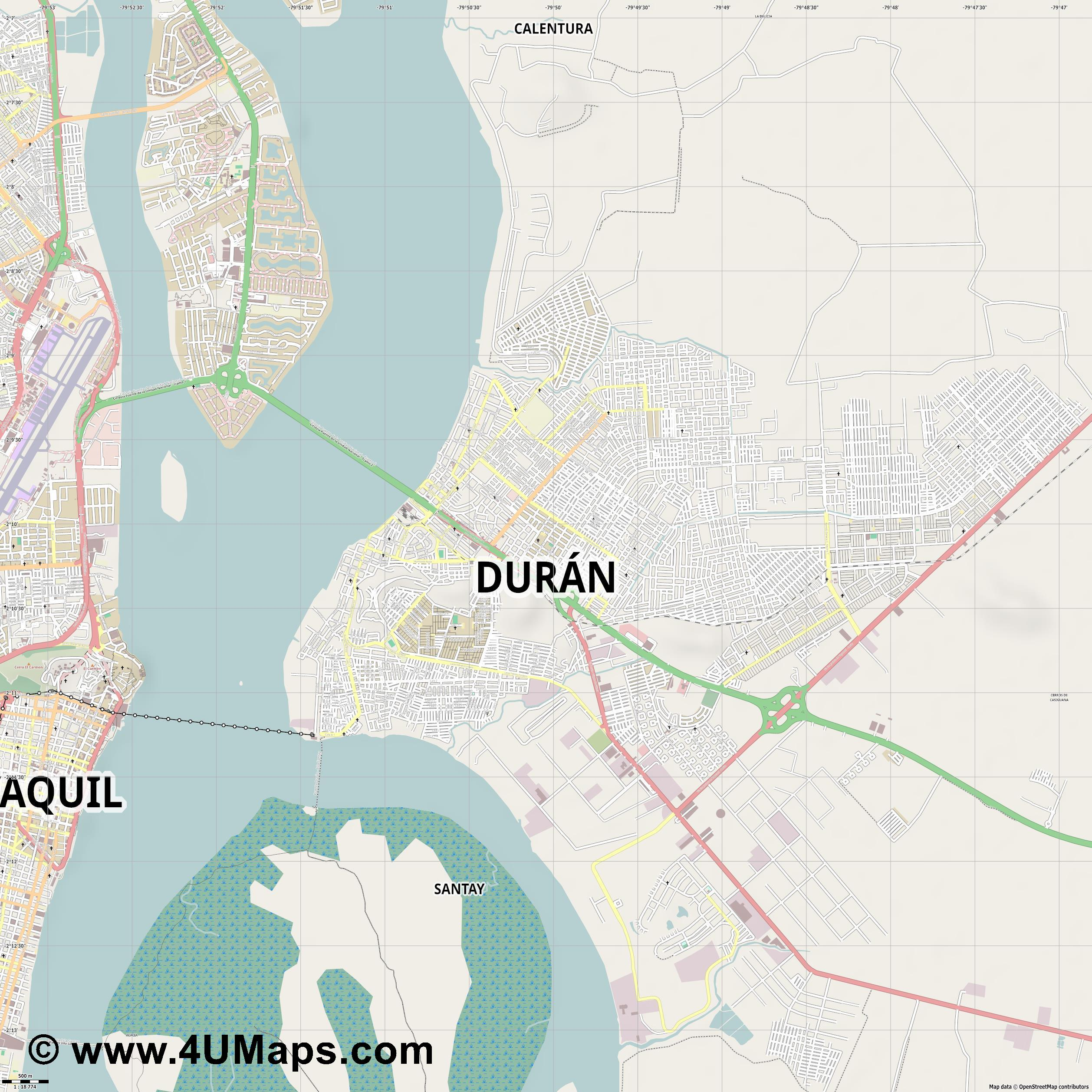 Durán  jpg ultra high detail preview vector city map