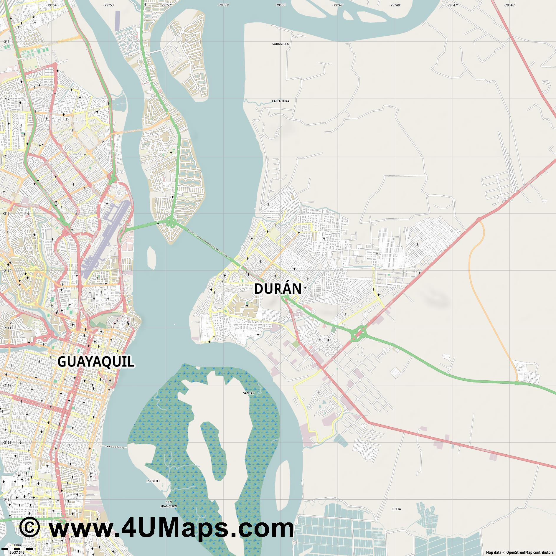 Durán  jpg high detail, large area preview vector city map