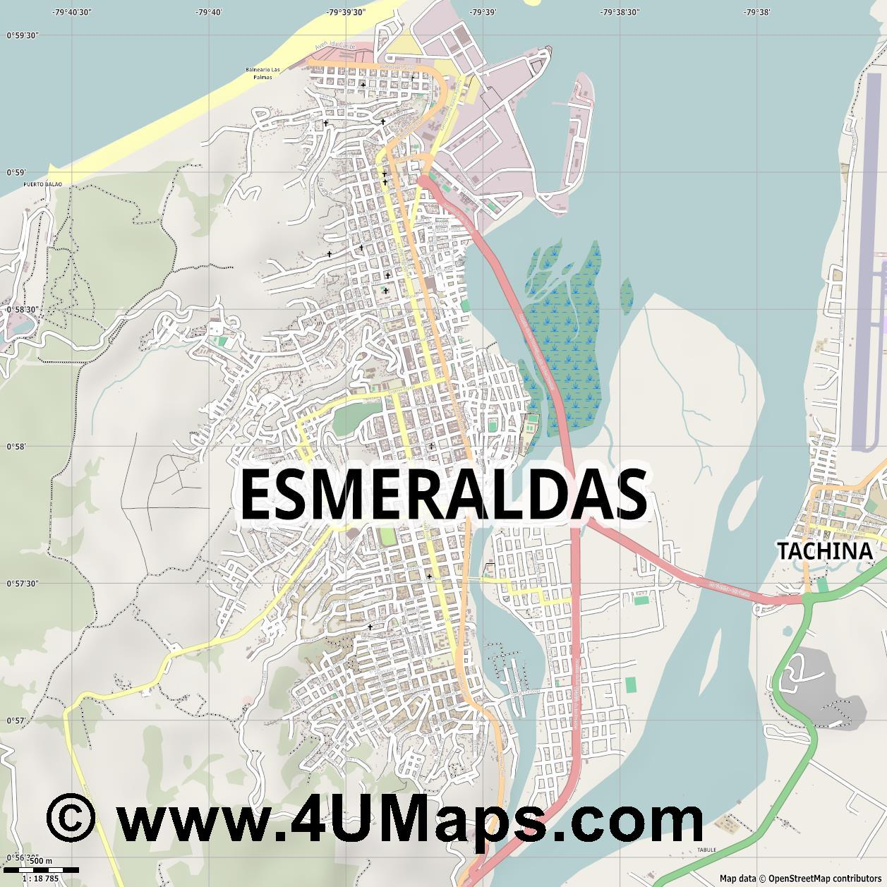 Esmeraldas  jpg ultra high detail preview vector city map