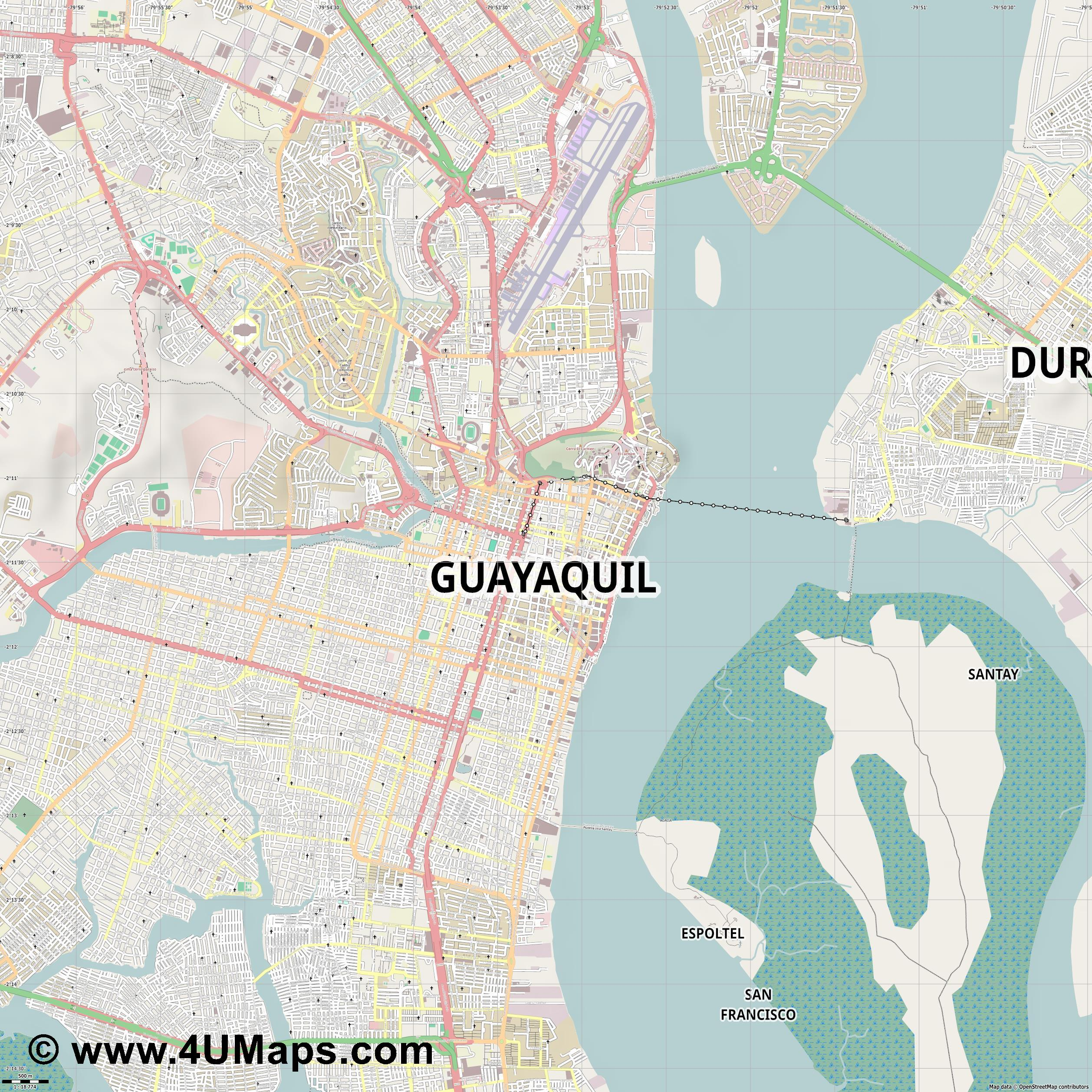 Guayaquil  jpg ultra high detail preview vector city map