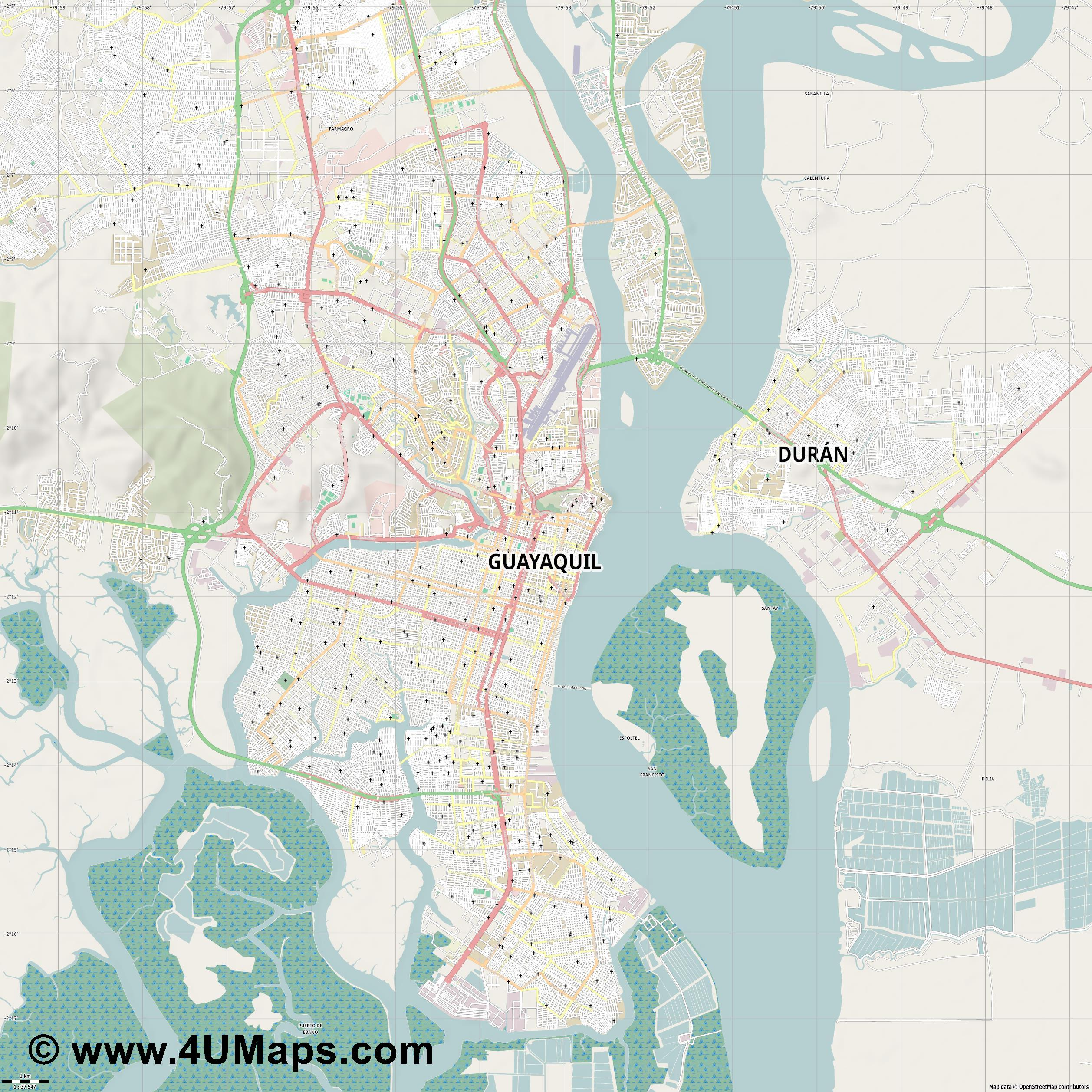 Guayaquil  jpg high detail, large area preview vector city map