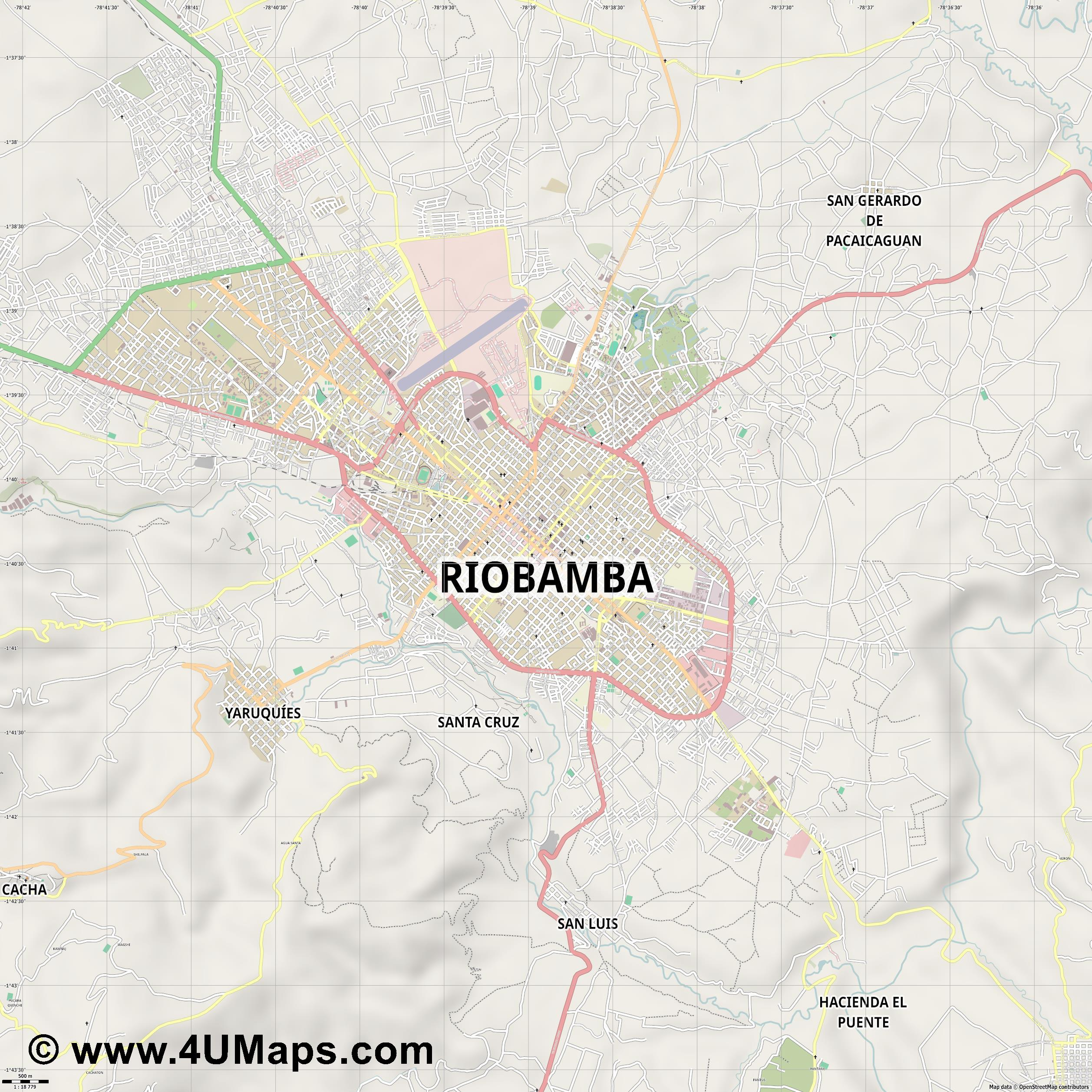 Riobamba  jpg ultra high detail preview vector city map