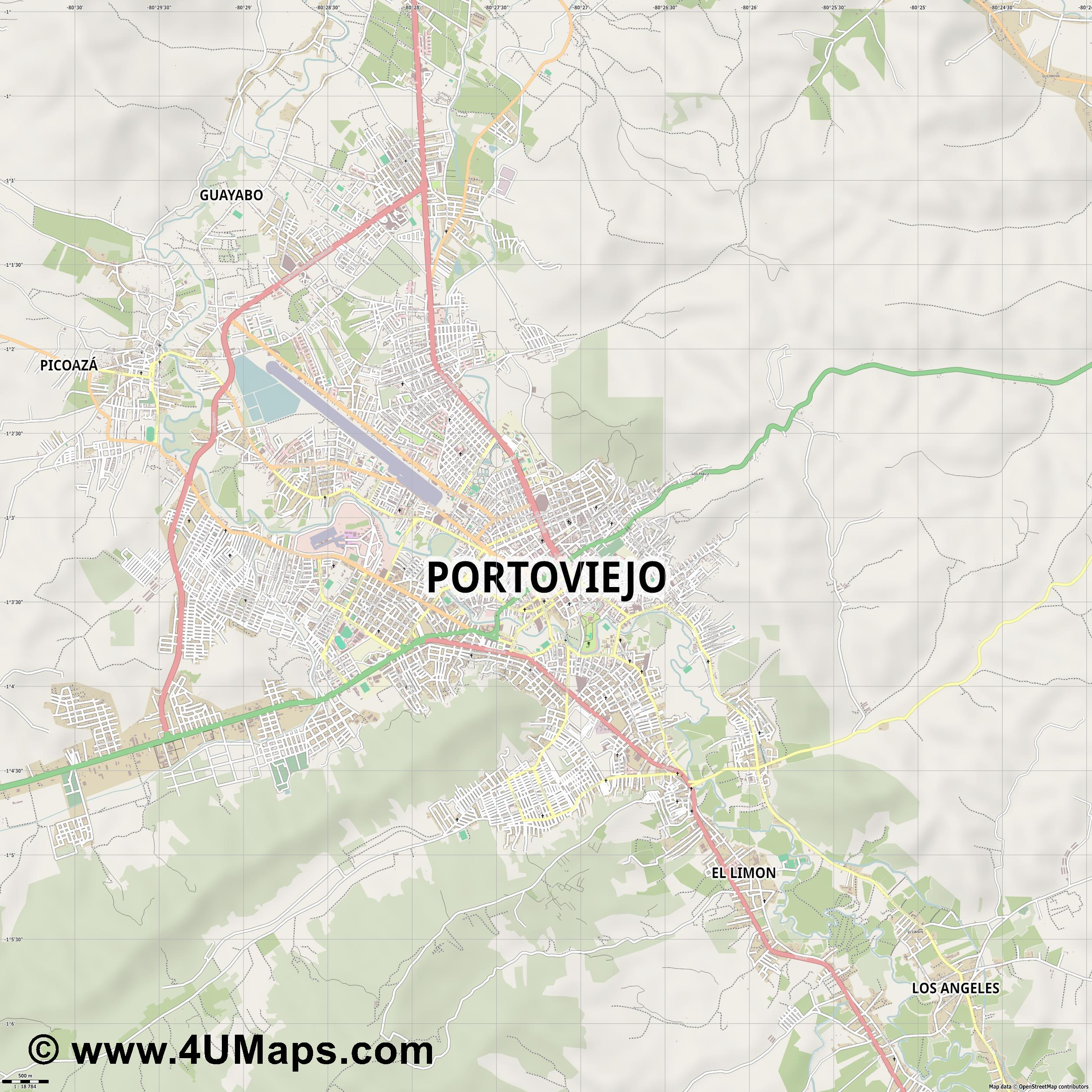 Portoviejo  jpg ultra high detail preview vector city map