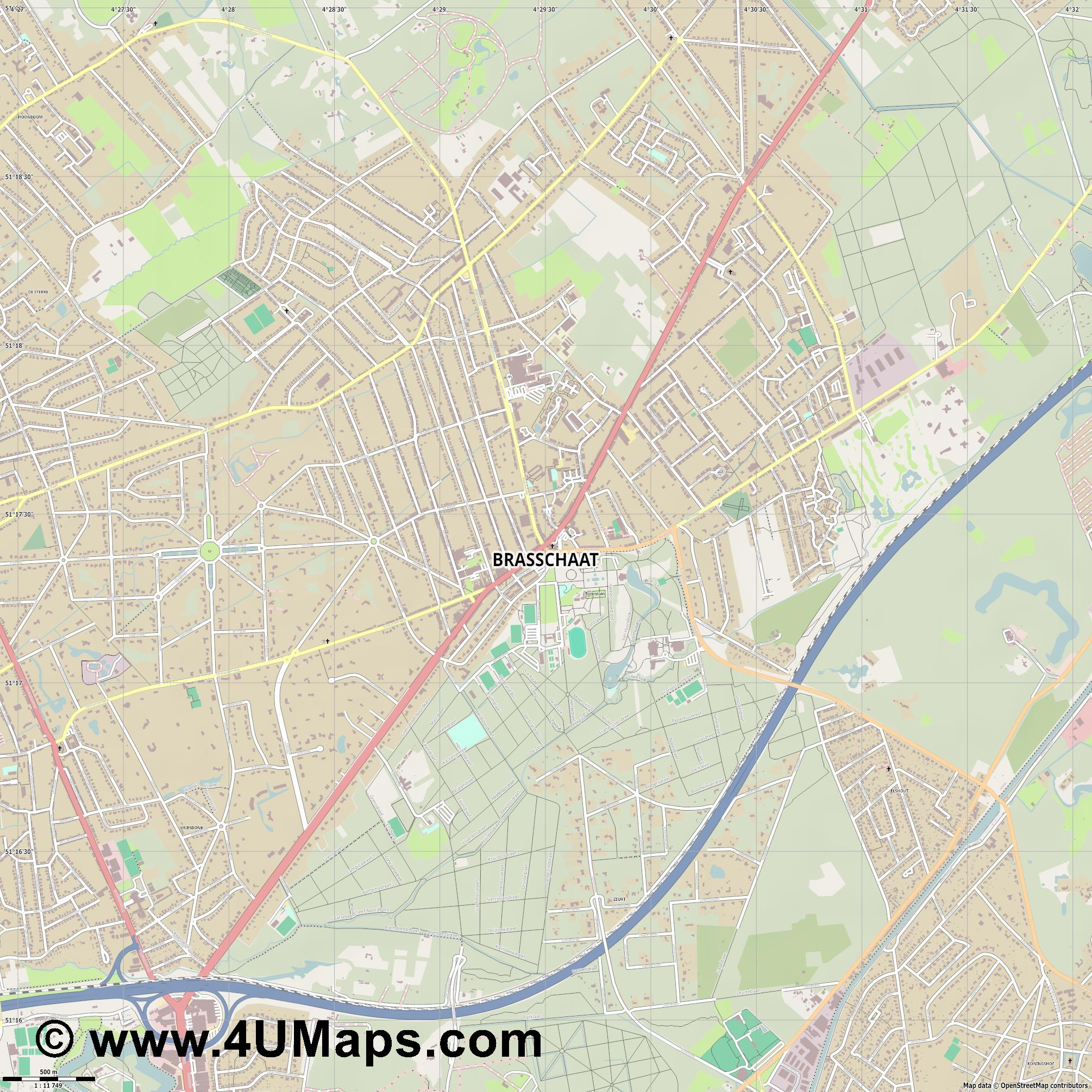 Brasschaat  jpg ultra high detail preview vector city map