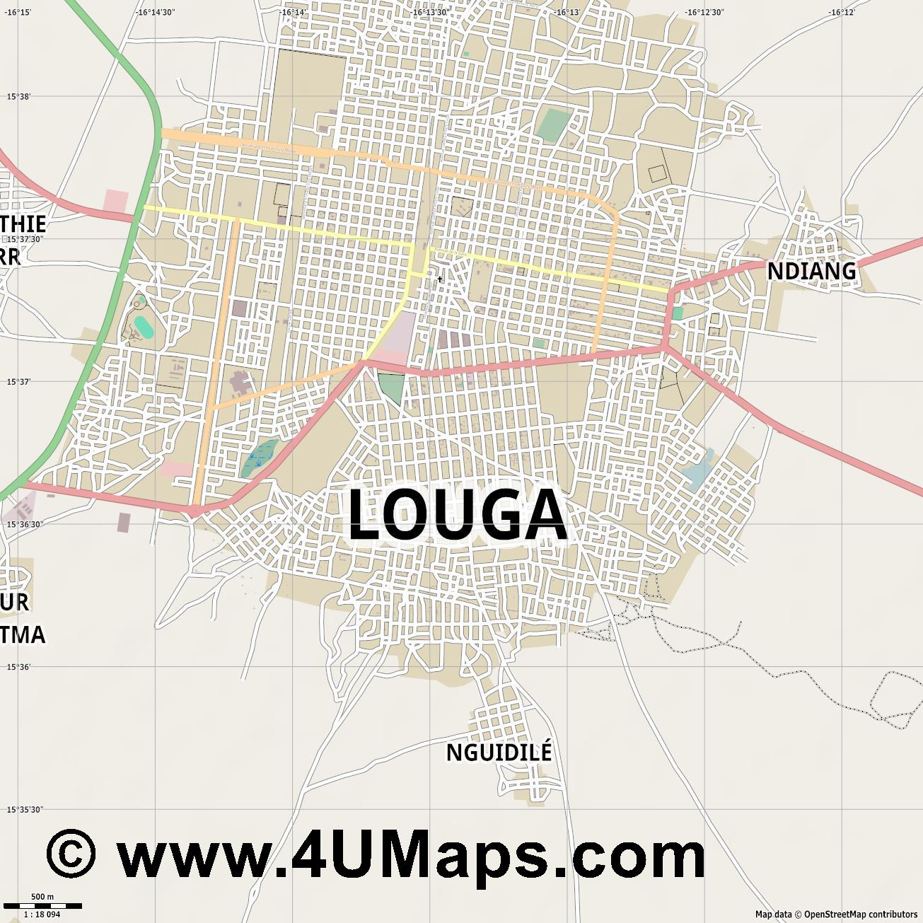Louga  jpg ultra high detail preview vector city map