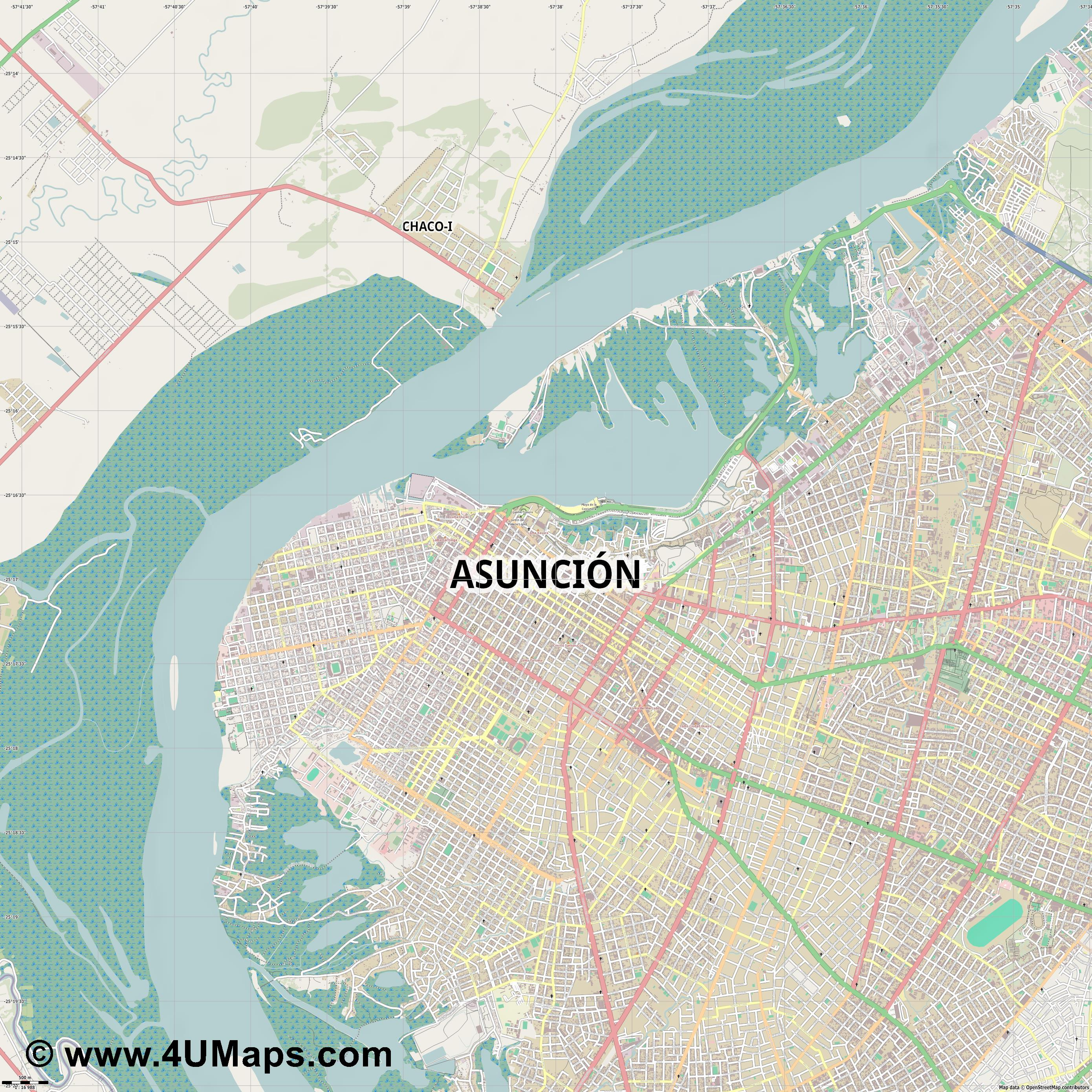 Asunción Asuncion  jpg ultra high detail preview vector city map