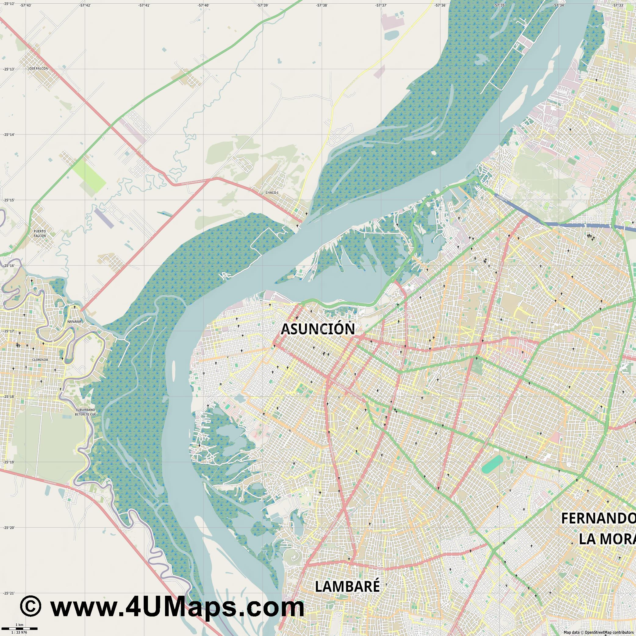 Asunción Asuncion  jpg high detail, large area preview vector city map