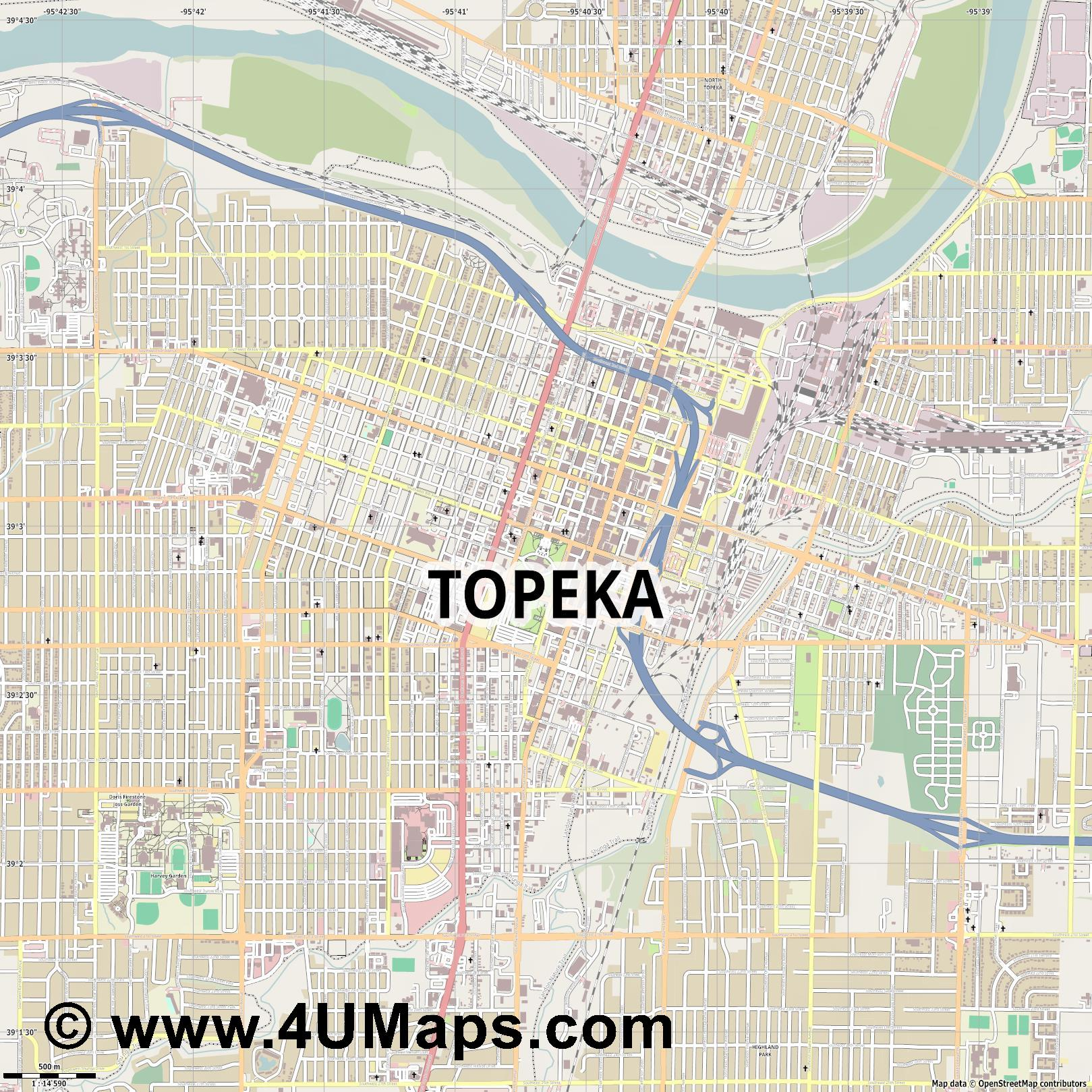 Topeka  jpg ultra high detail preview vector city map