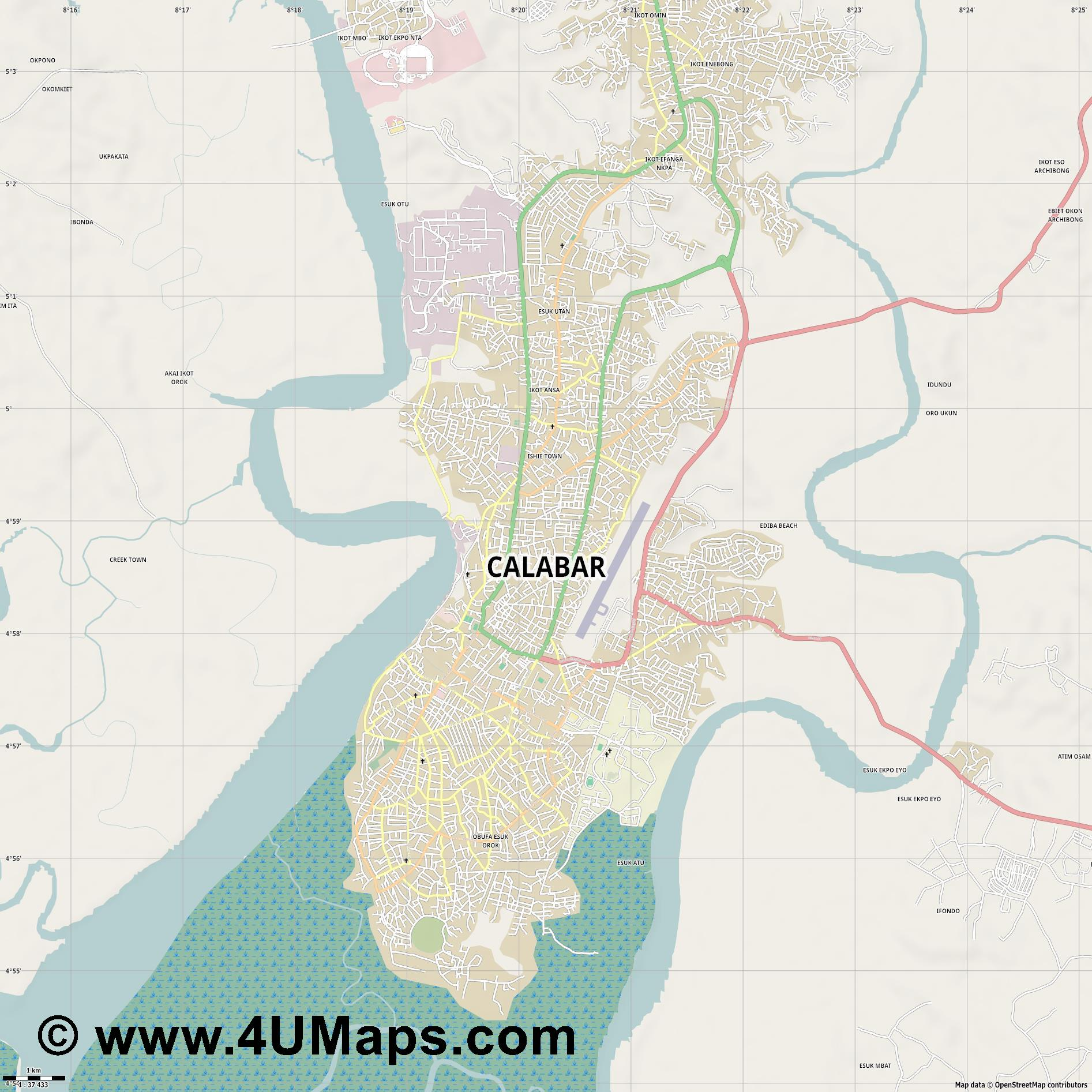 Calabar  jpg high detail, large area preview vector city map