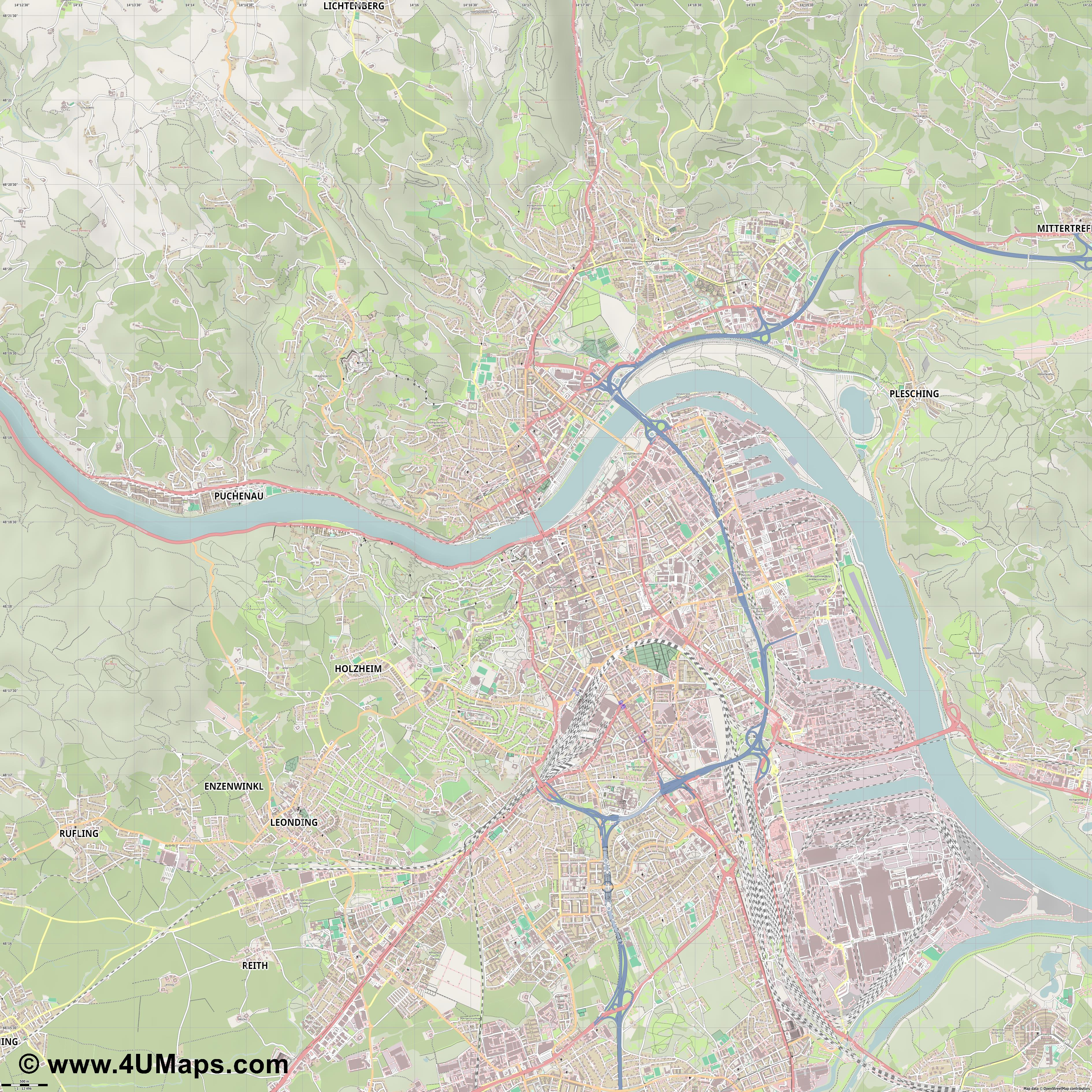 Linz  jpg ultra high detail preview vector city map