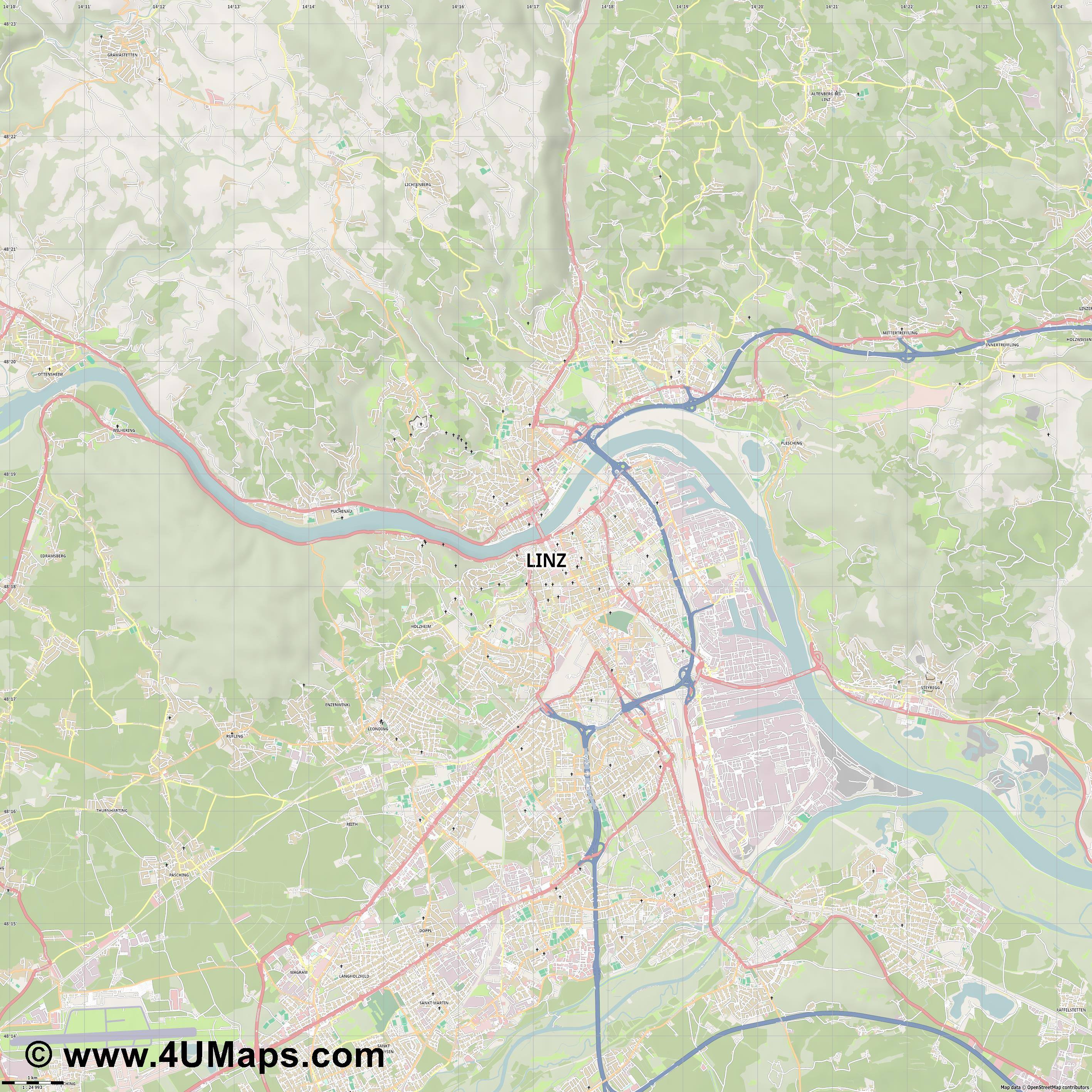 Linz  jpg high detail, large area preview vector city map