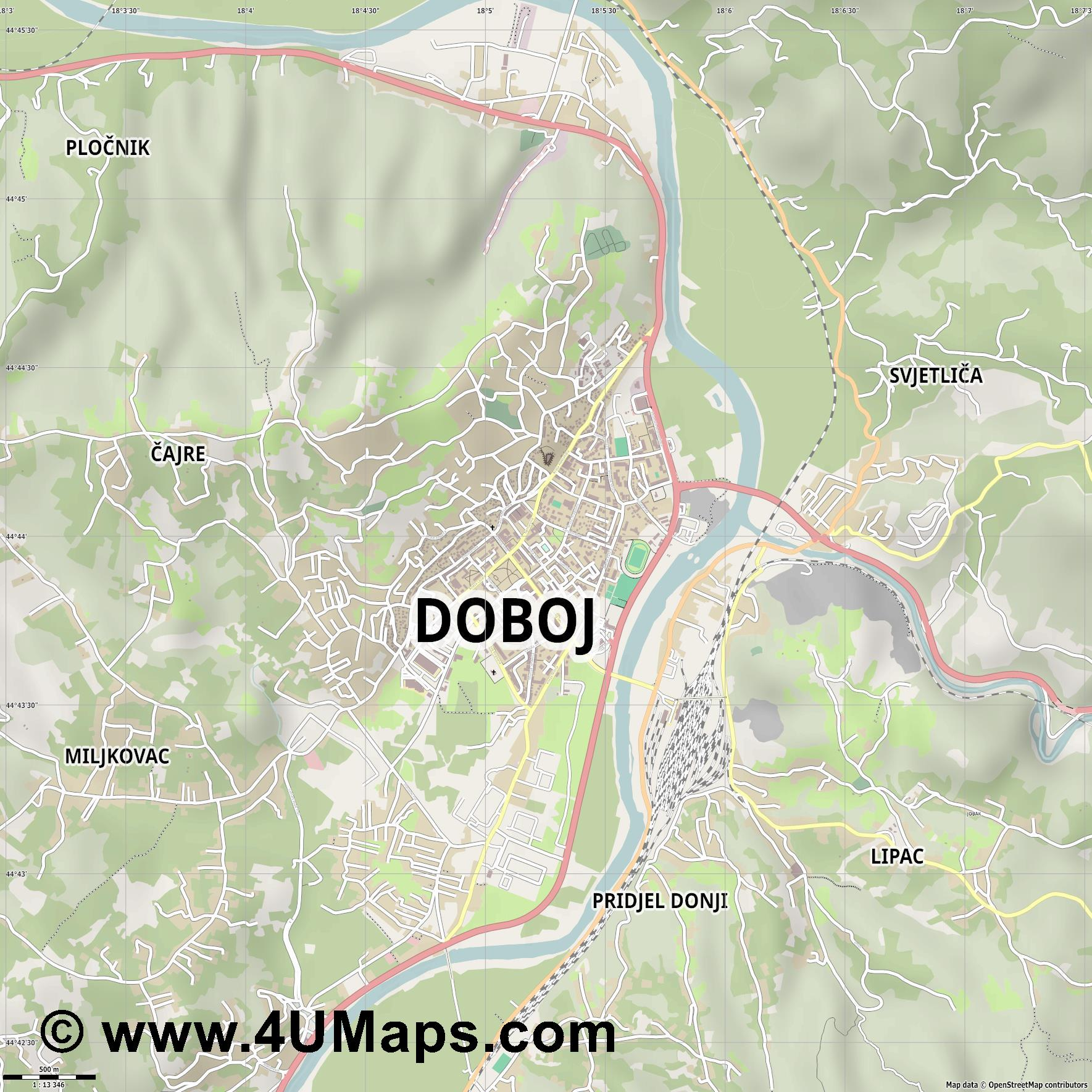 Doboj  jpg ultra high detail preview vector city map