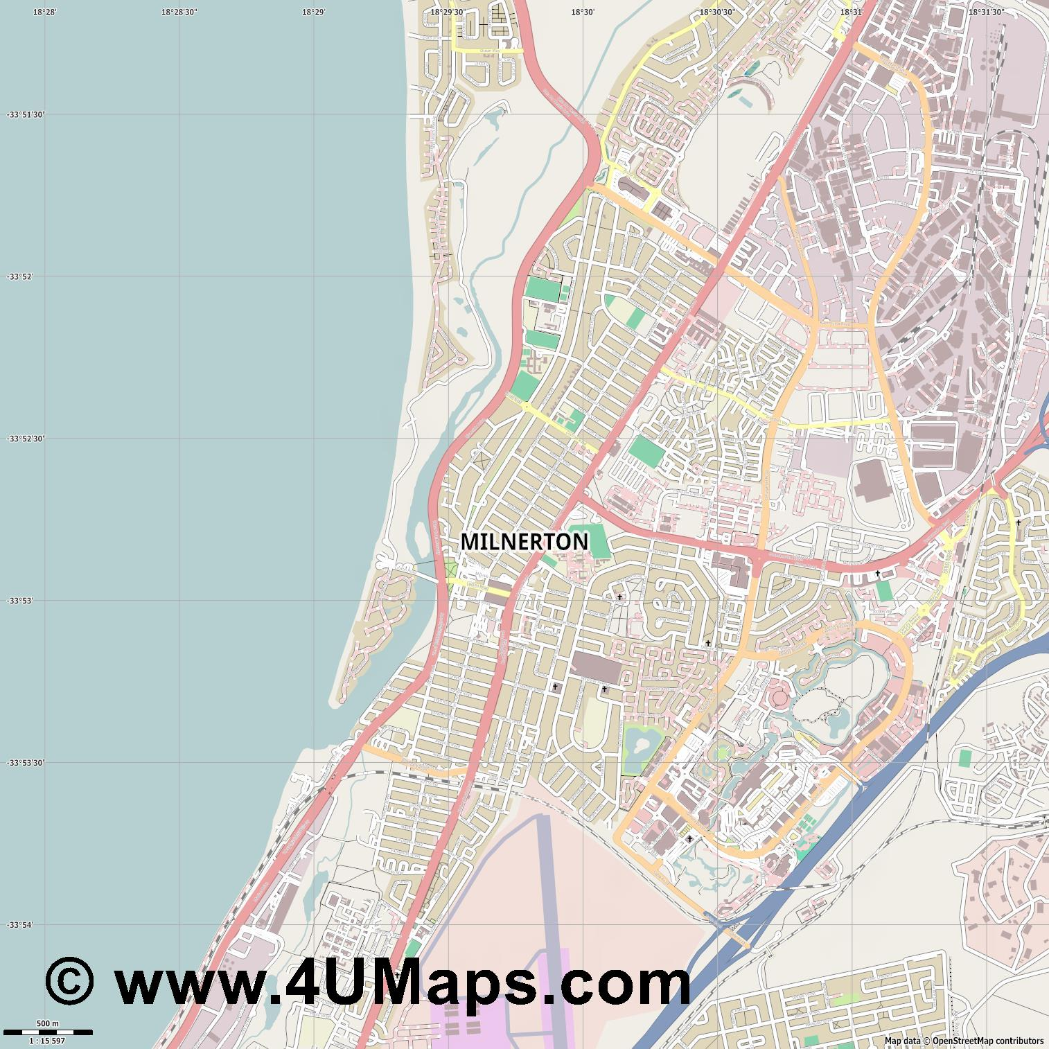 Milnerton  jpg ultra high detail preview vector city map