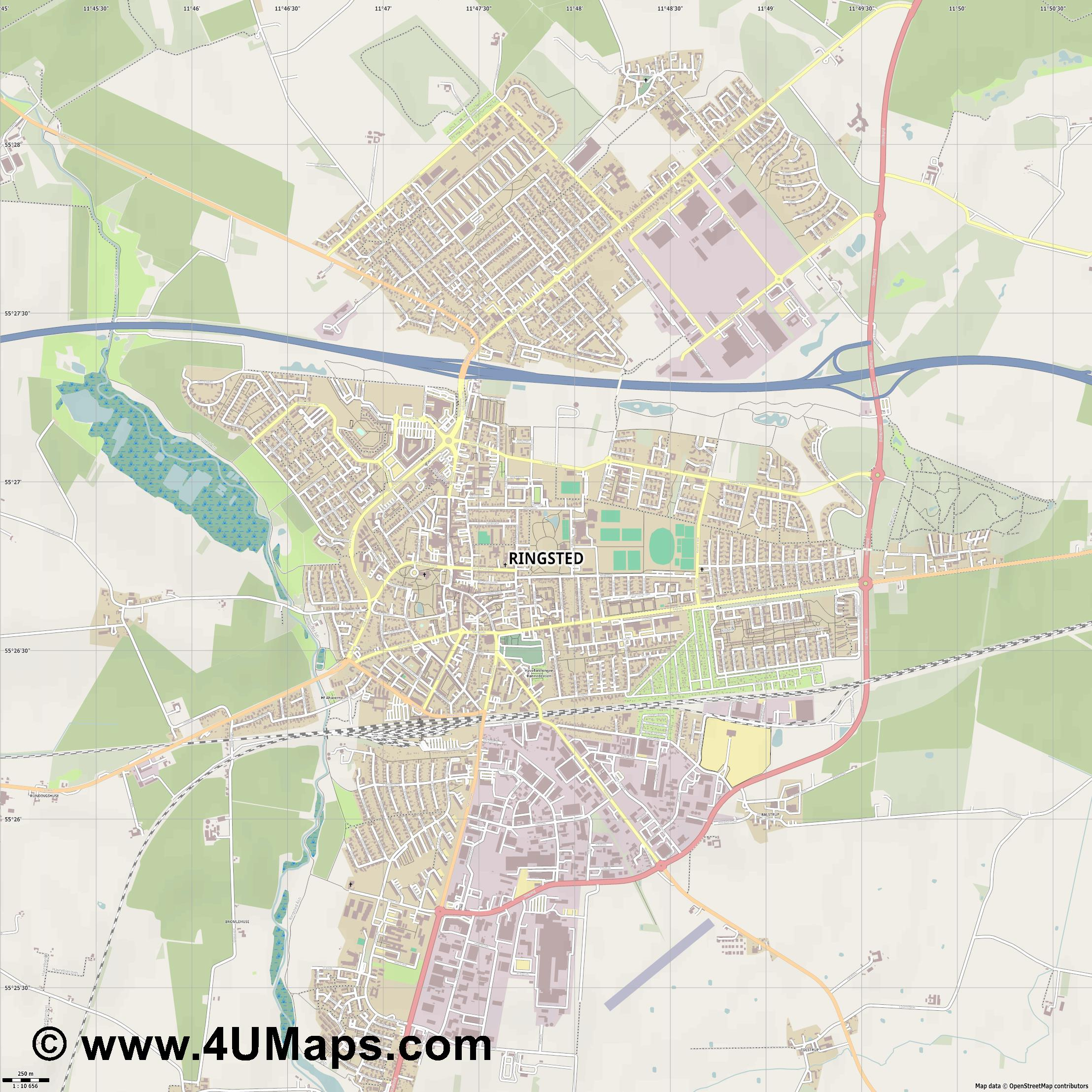 Ringsted  jpg ultra high detail preview vector city map