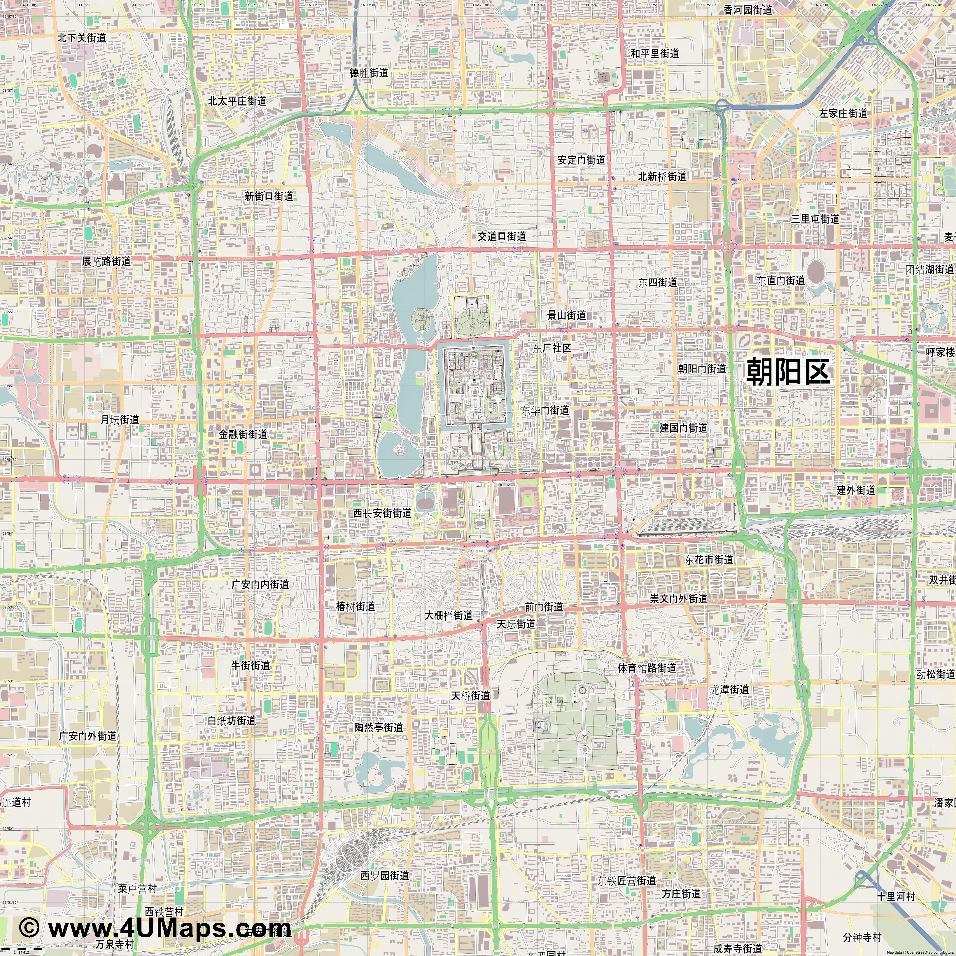 北京市 Beijing Pekín Pékin Pechino Peking  jpg ultra high detail preview vector city map
